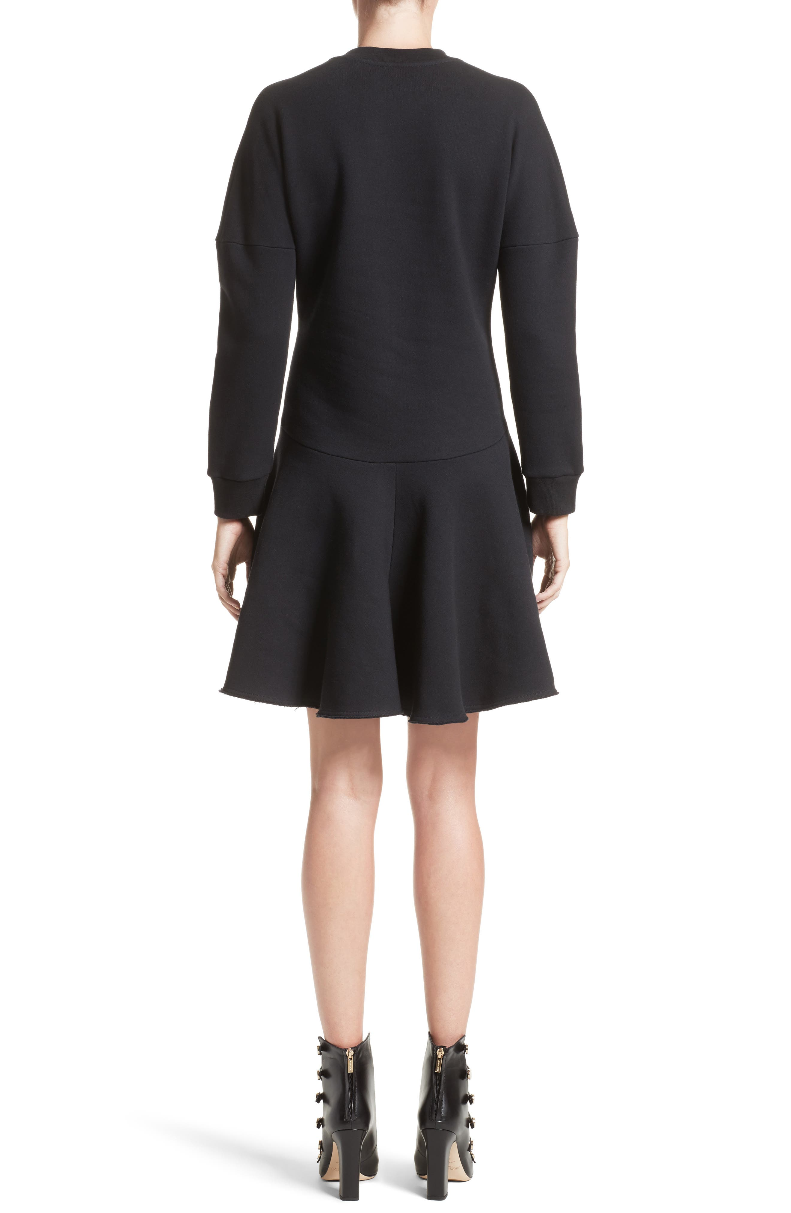 Embroidered Sweatshirt Dress,                             Alternate thumbnail 2, color,                             Black