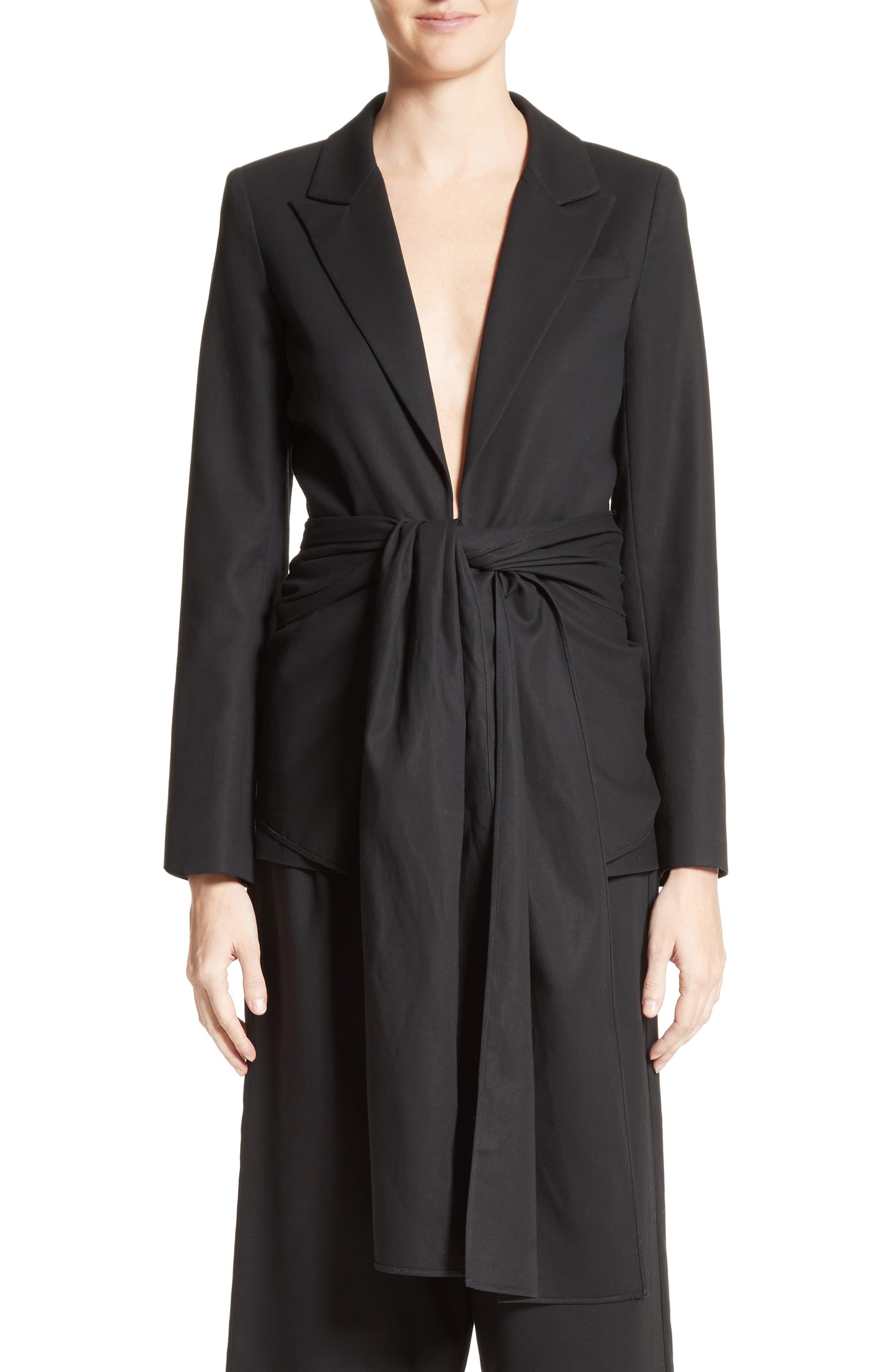 Cotton Gabardine Wrap Blazer,                         Main,                         color, Black