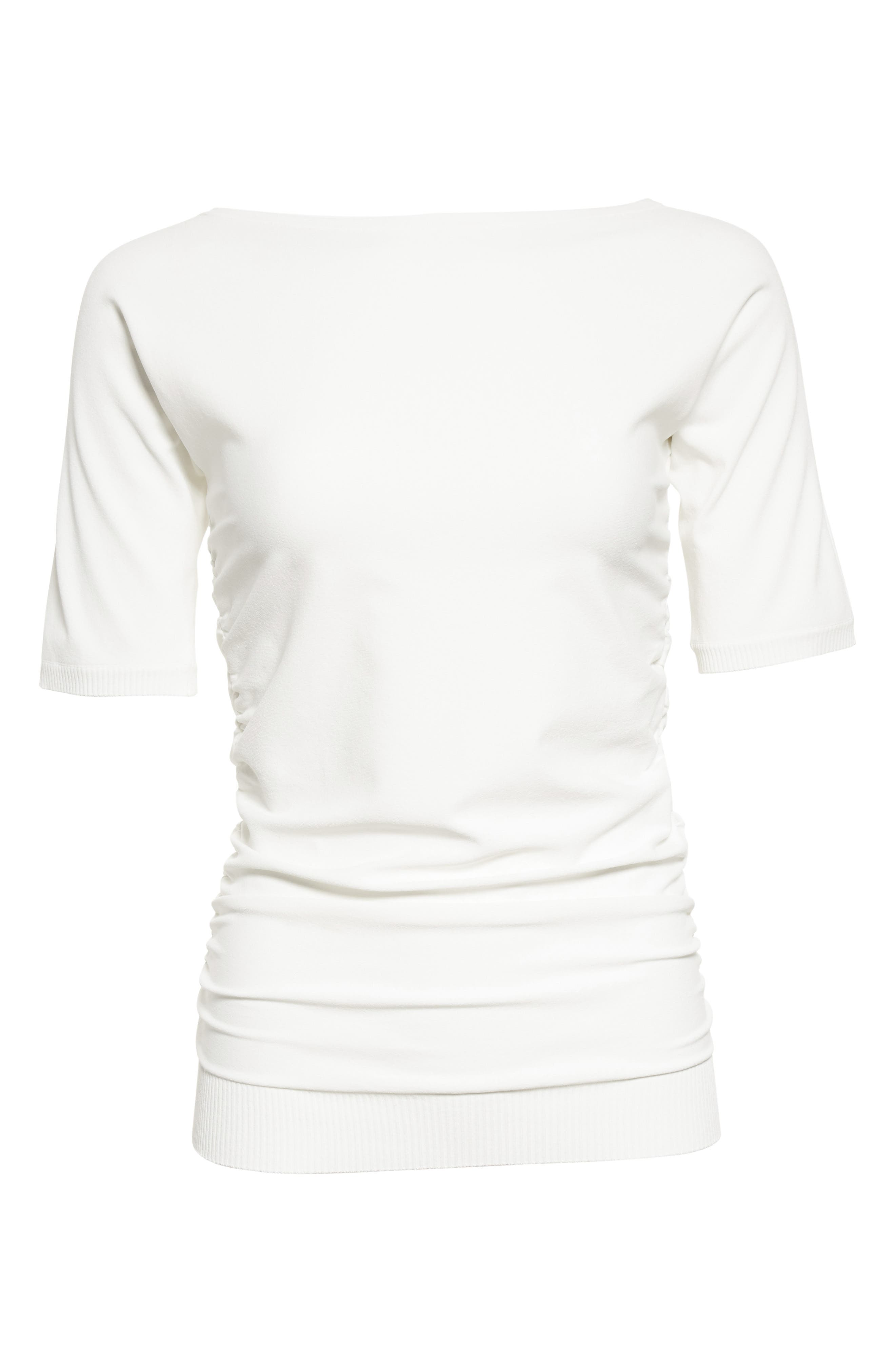 Joice Ruched Knit Top,                             Alternate thumbnail 4, color,                             White