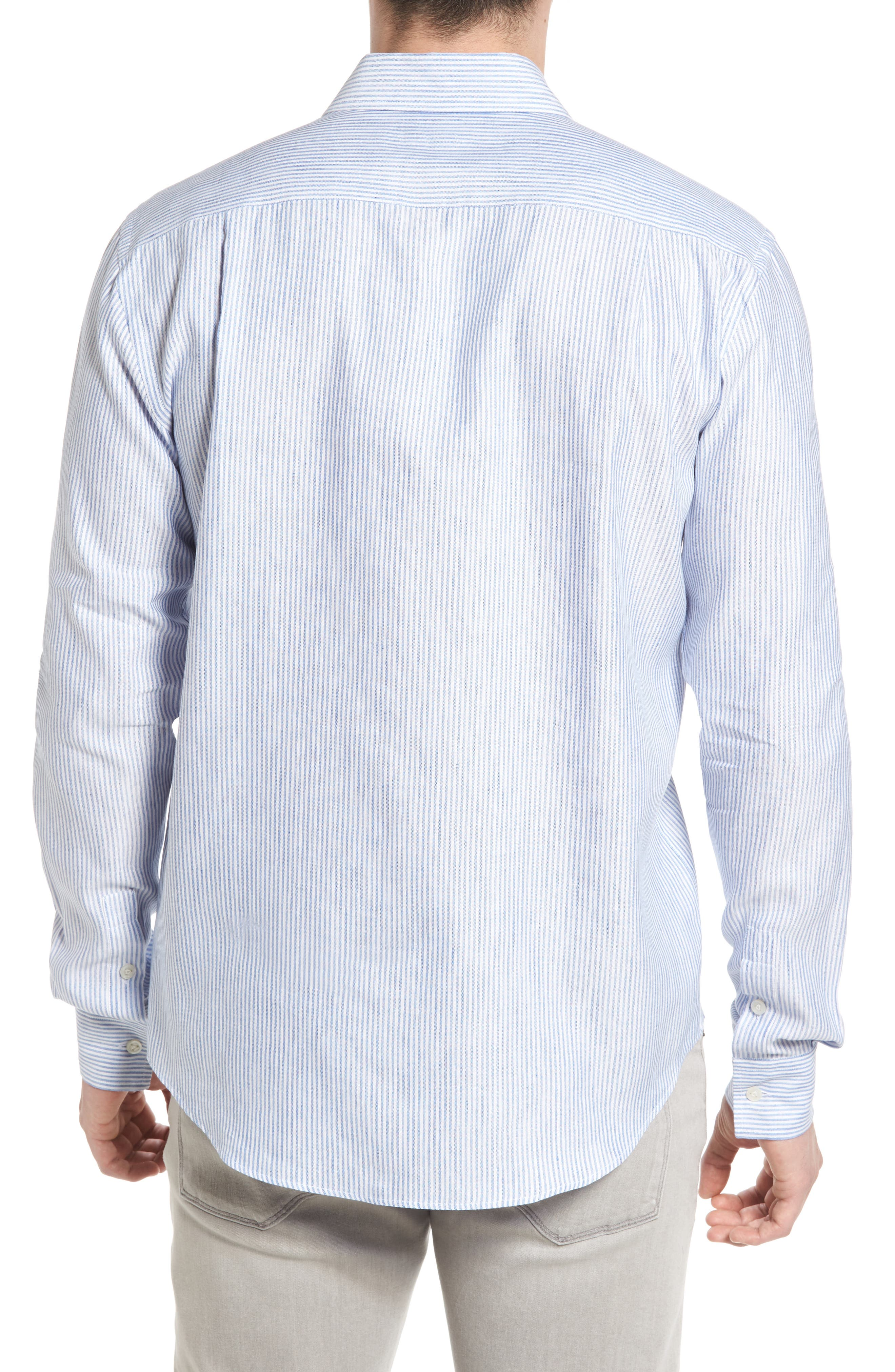 Stripe Linen Blend Sport Shirt,                             Alternate thumbnail 3, color,                             Sky Blue