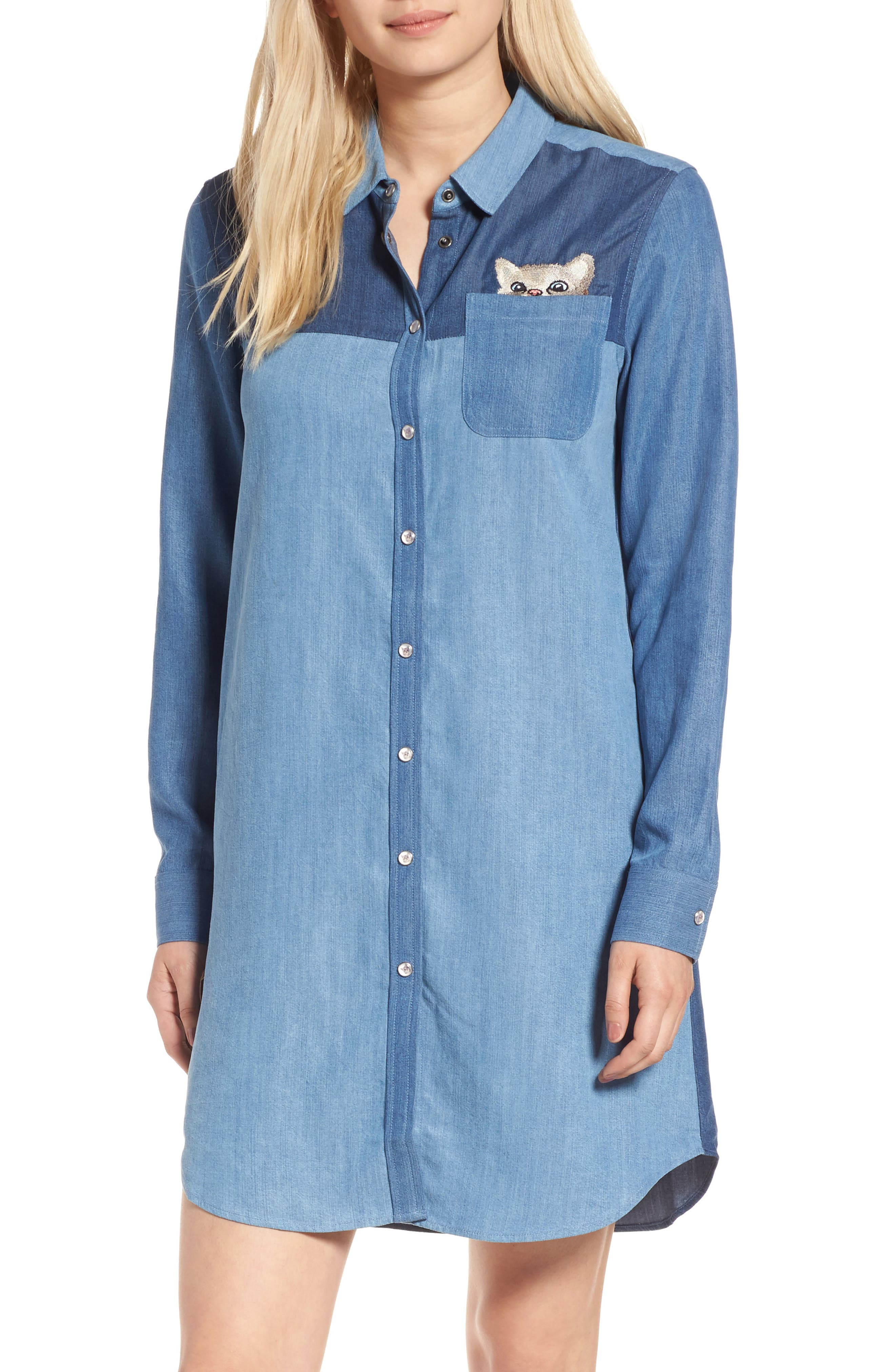 Kitty Chambray Shirtdress,                         Main,                         color, Denim