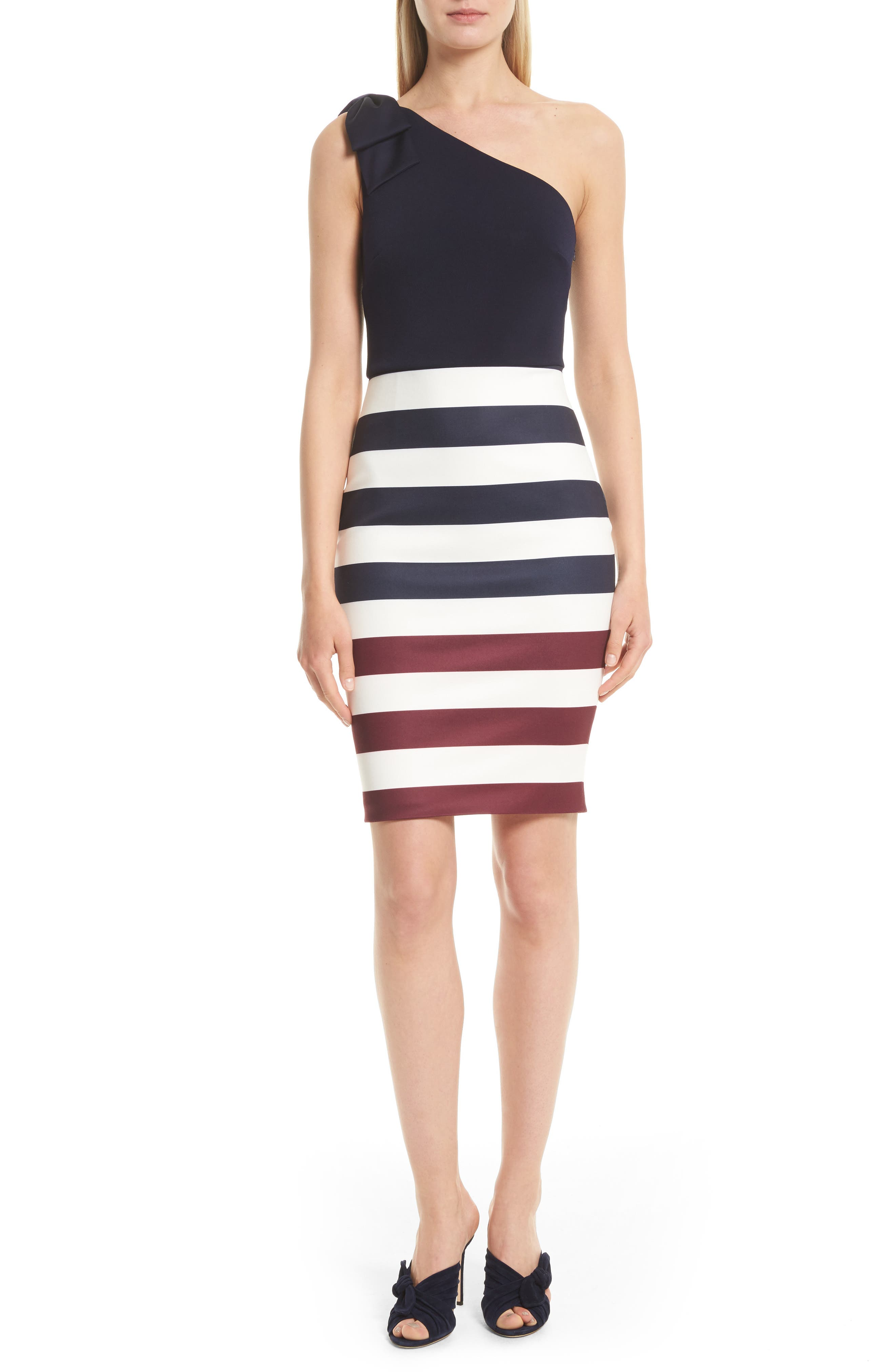 Main Image - Ted Baker London Hilila One-Shoulder Rowing Stripe Dress