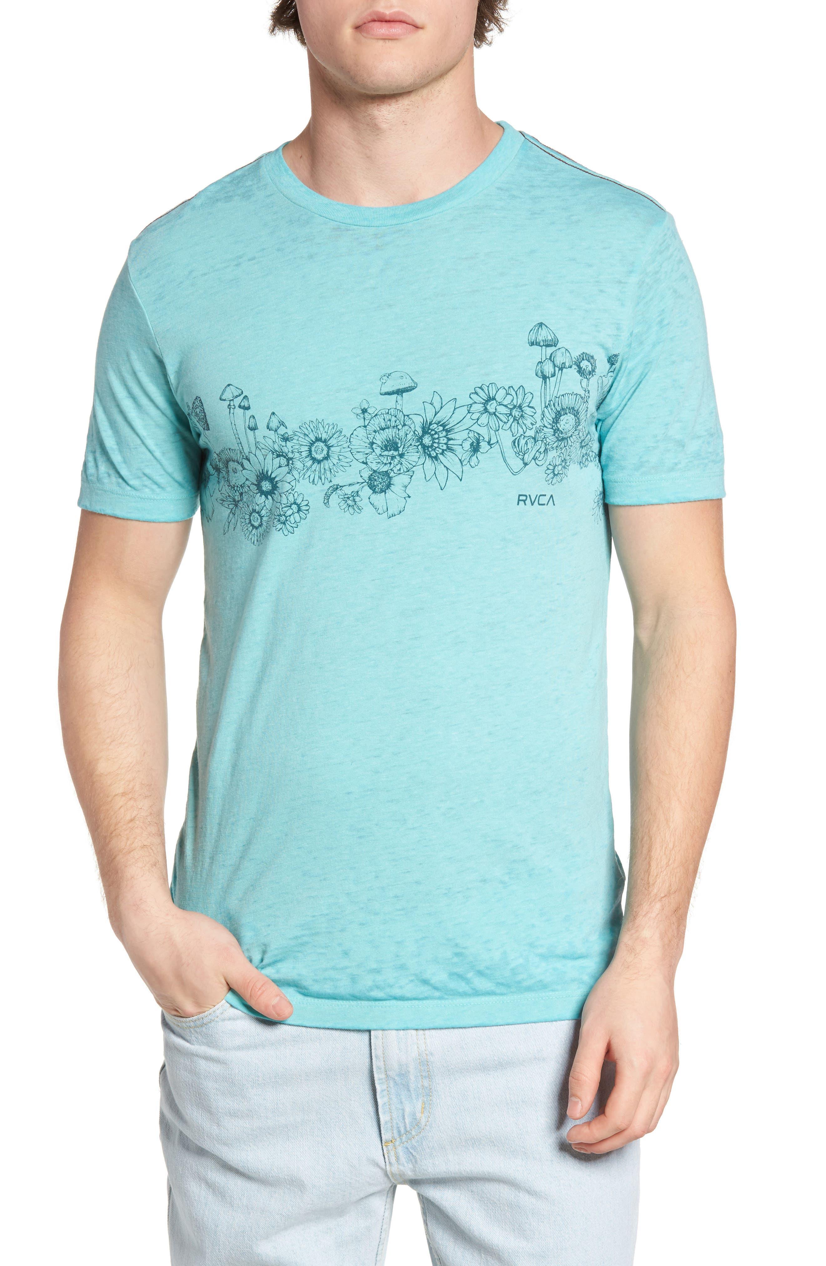 Sage Stripe Floral Graphic T-Shirt,                         Main,                         color, Nile Blue