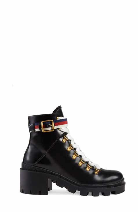 228275535 Gucci Trip Lug Sole Combat Boot (Women)