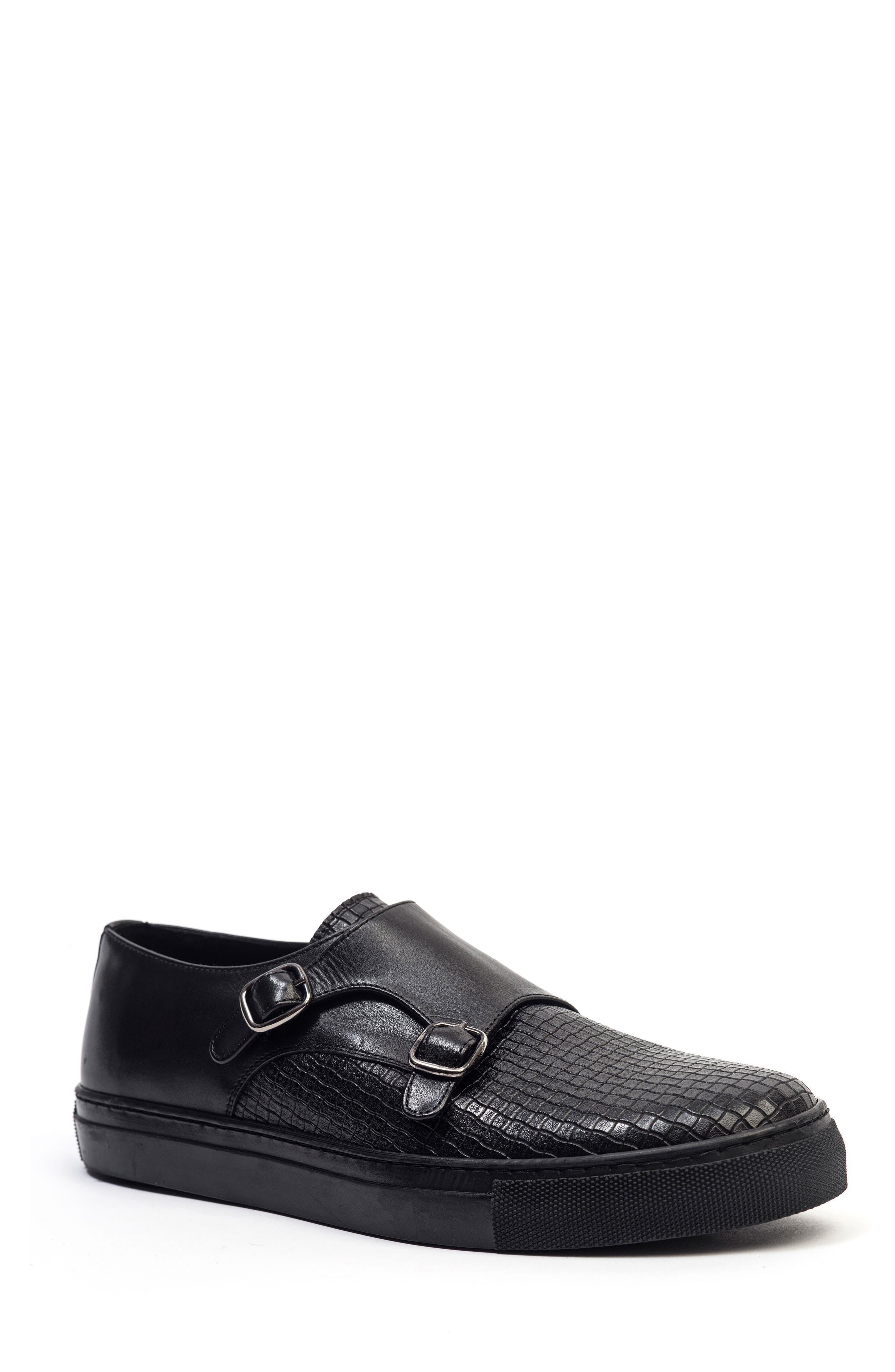 Embossed Monk Strap Sneaker,                             Main thumbnail 1, color,                             Black
