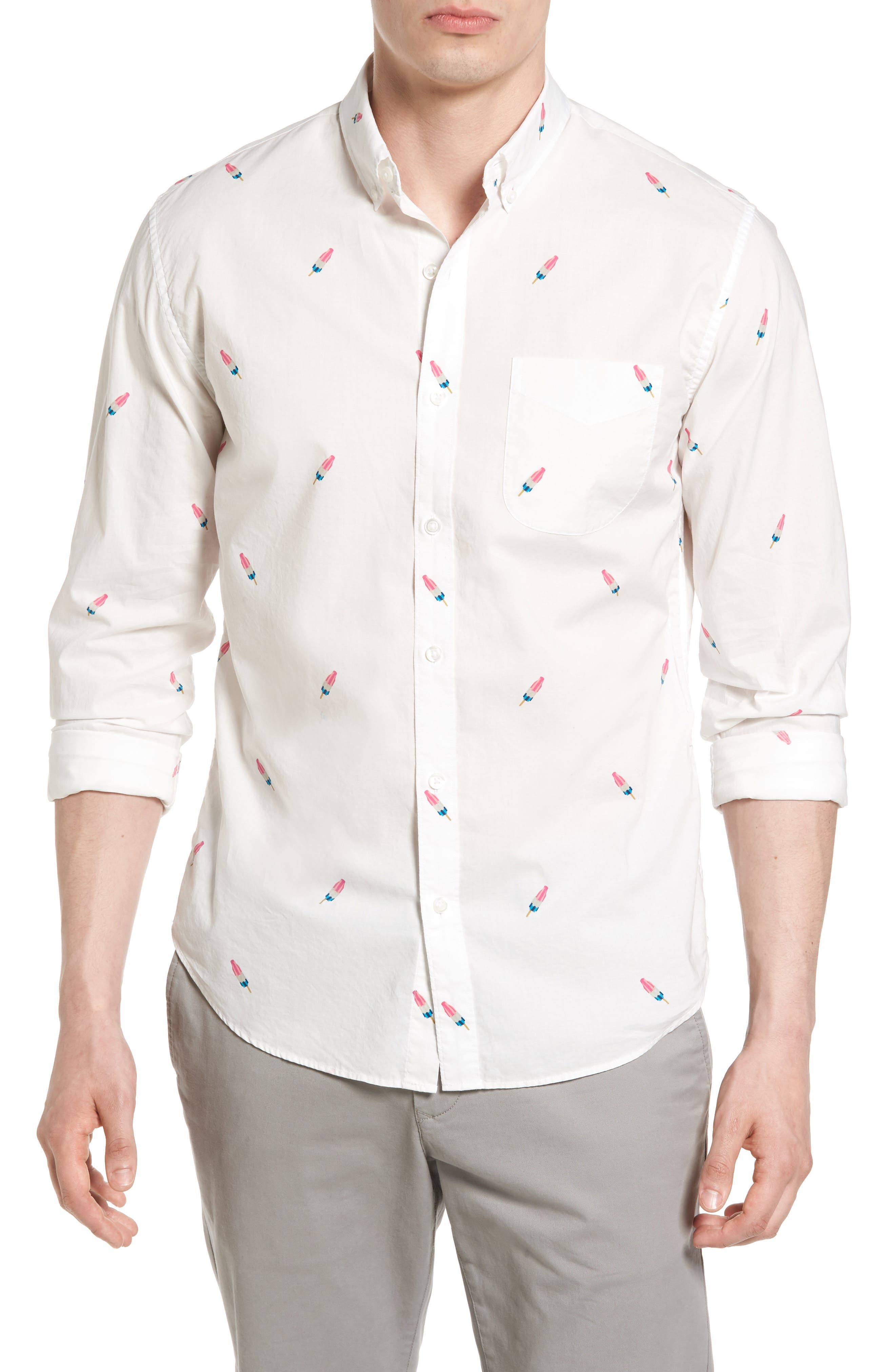 Summerweight Slim Fit Print Sport Shirt,                         Main,                         color, Popsicle Print White