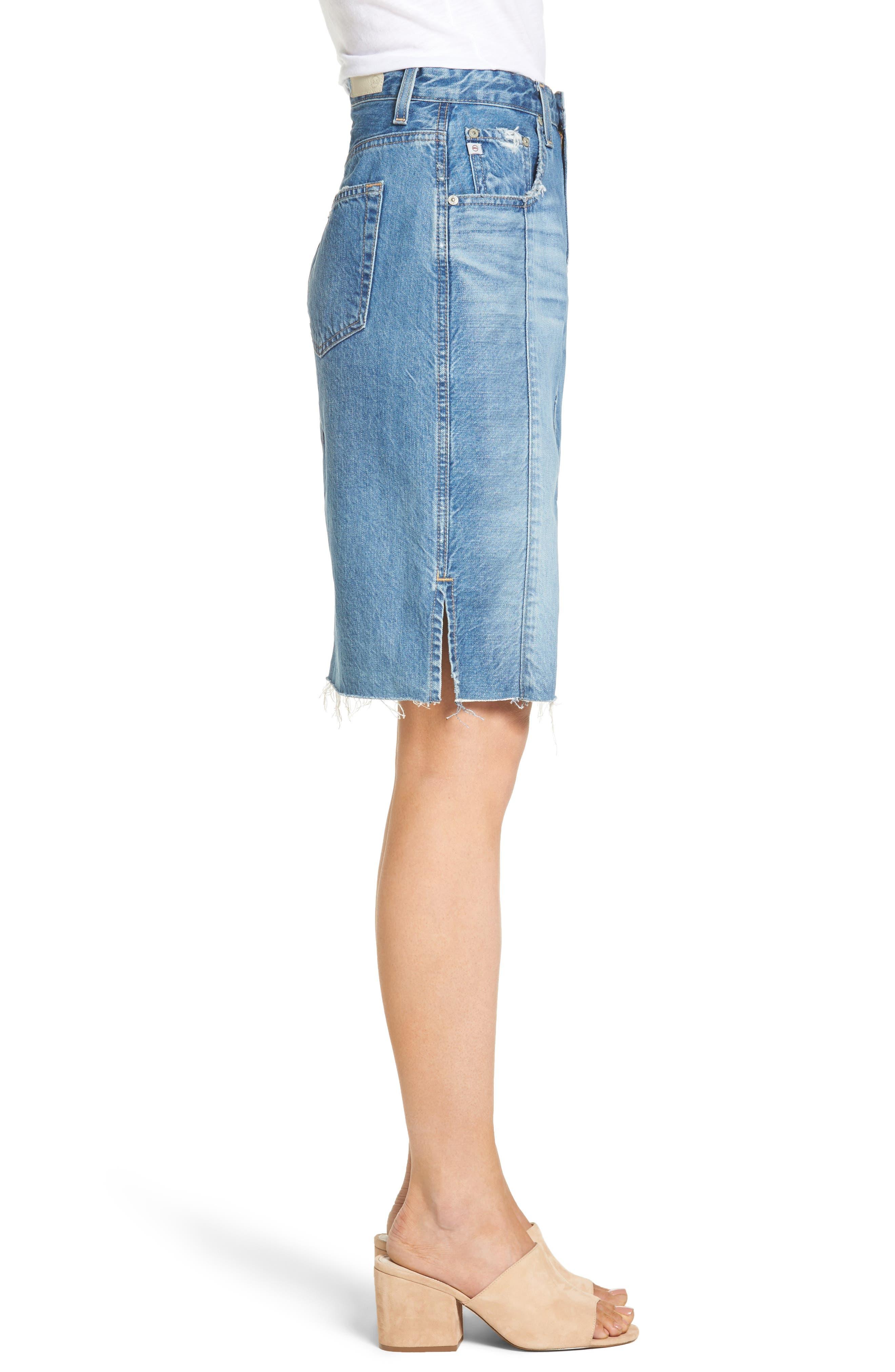 Alternate Image 4  - AG The Emery High Waist Denim Skirt (18 Years Blue Fawn)