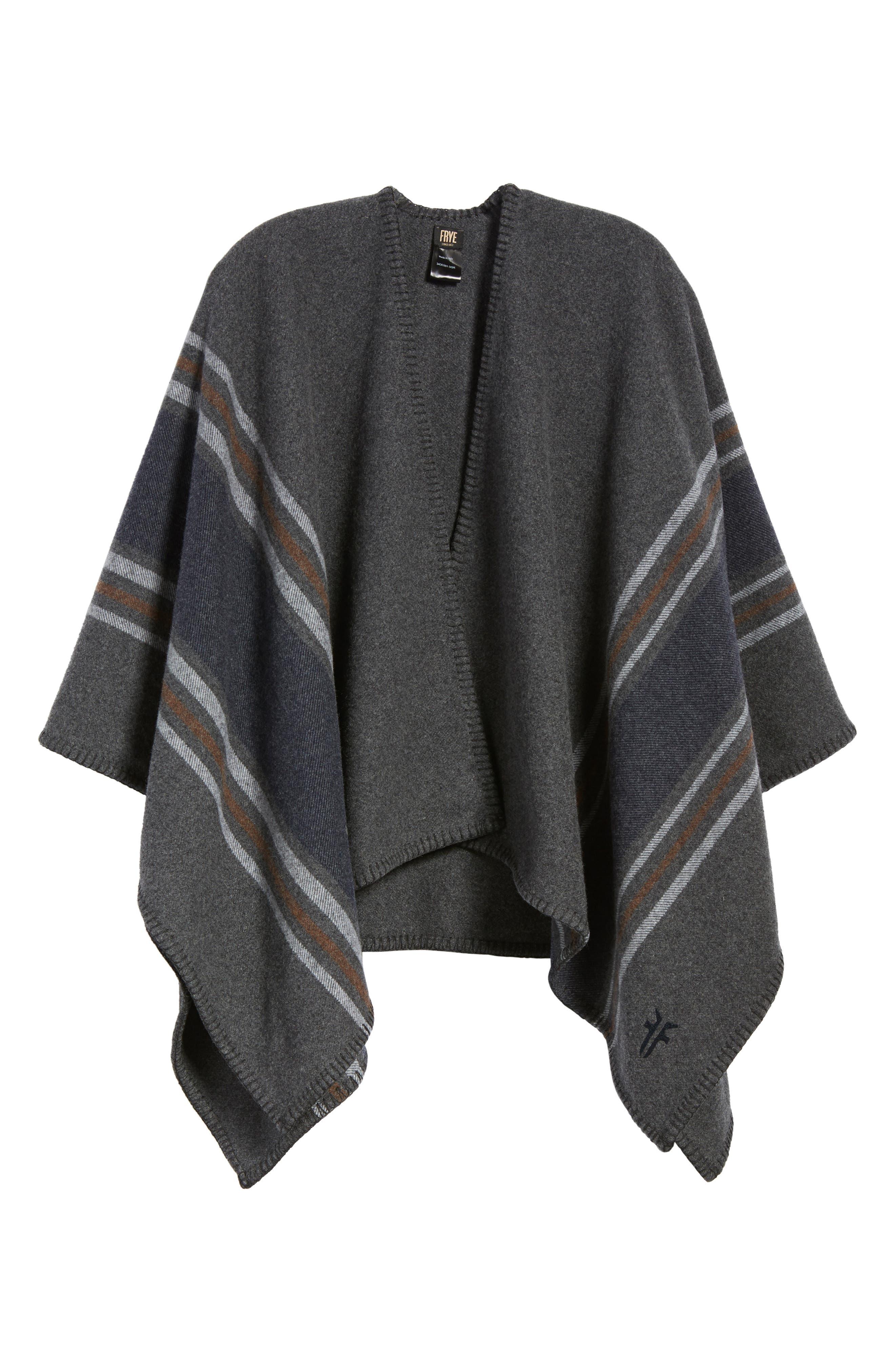 Addison Stripe Wool Wrap,                             Alternate thumbnail 2, color,                             Dark Grey
