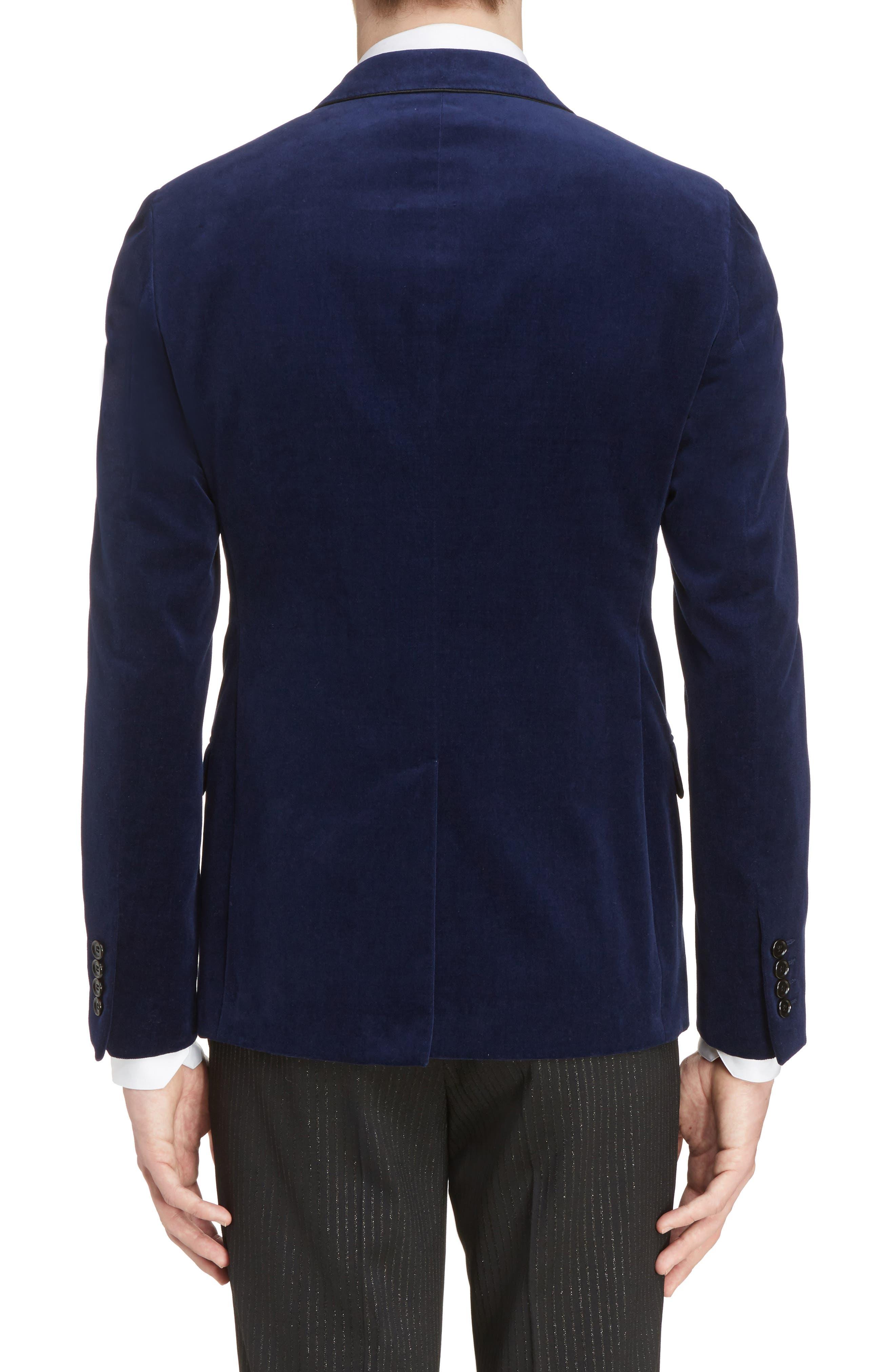 Extra Slim Fit Velvet Jacket,                             Alternate thumbnail 2, color,                             Blue