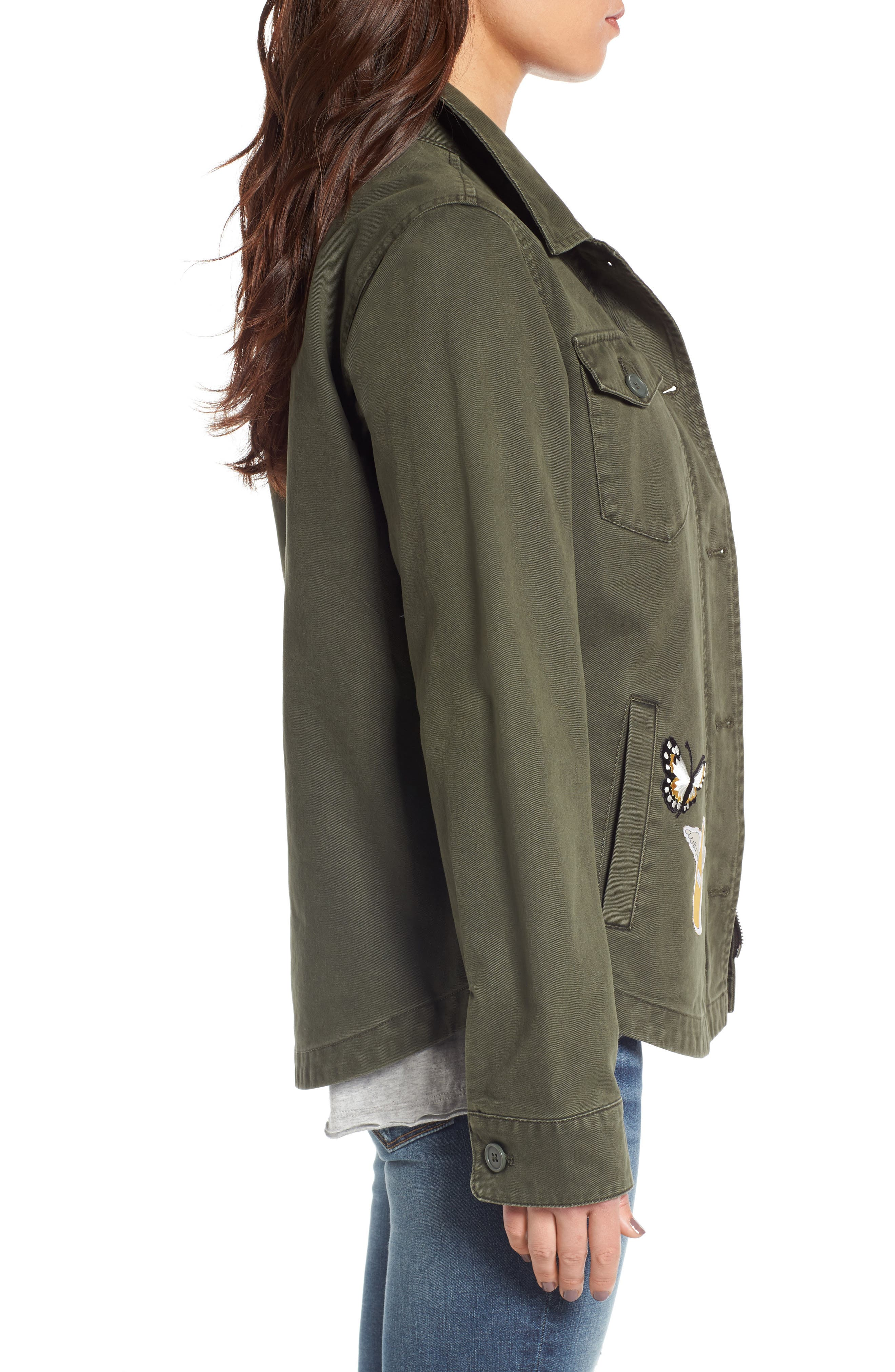 Cargo Jacket with Patches,                             Alternate thumbnail 3, color,                             Olive