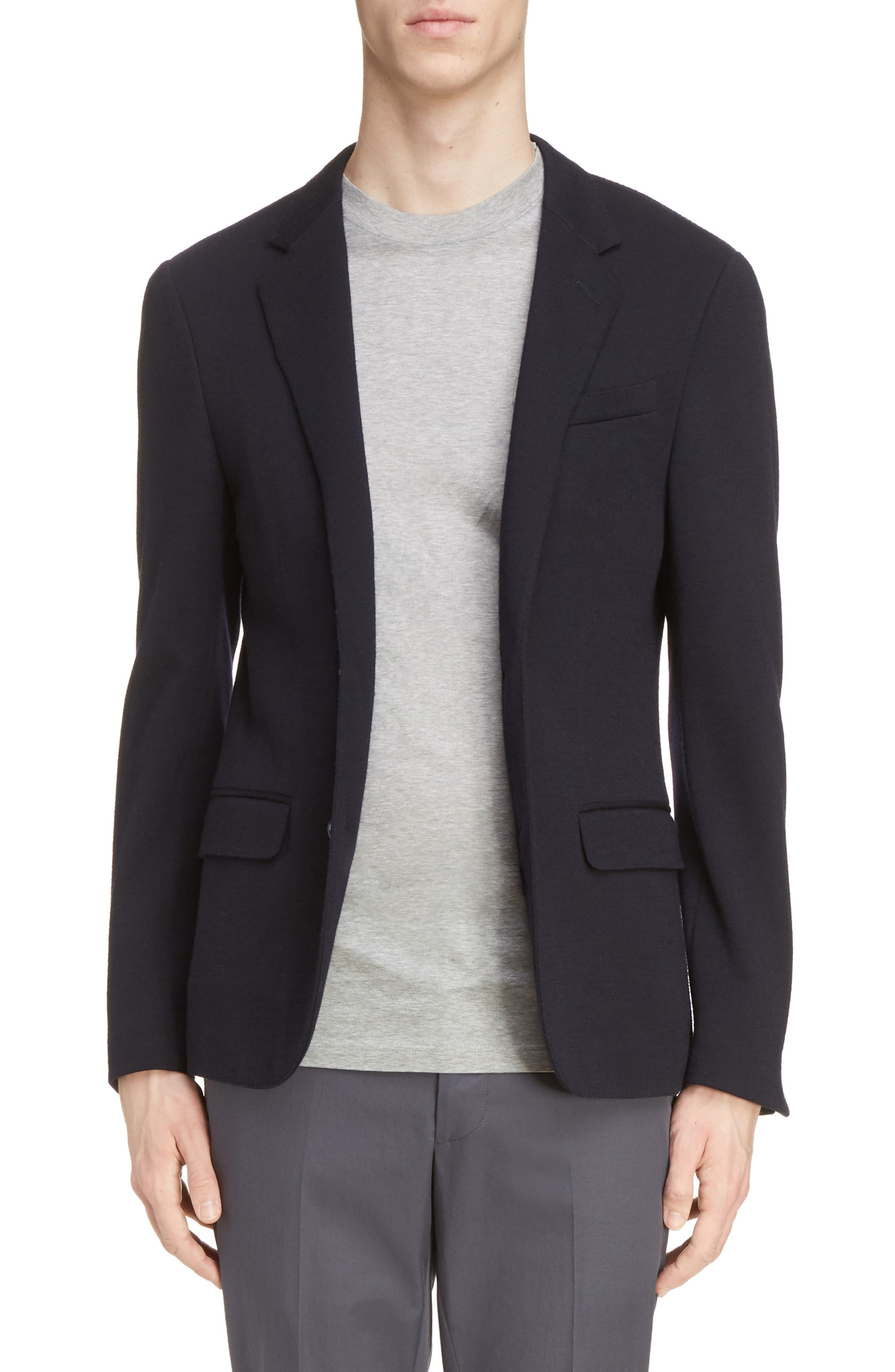 Wool Blend Jersey Jacket,                         Main,                         color, Navy