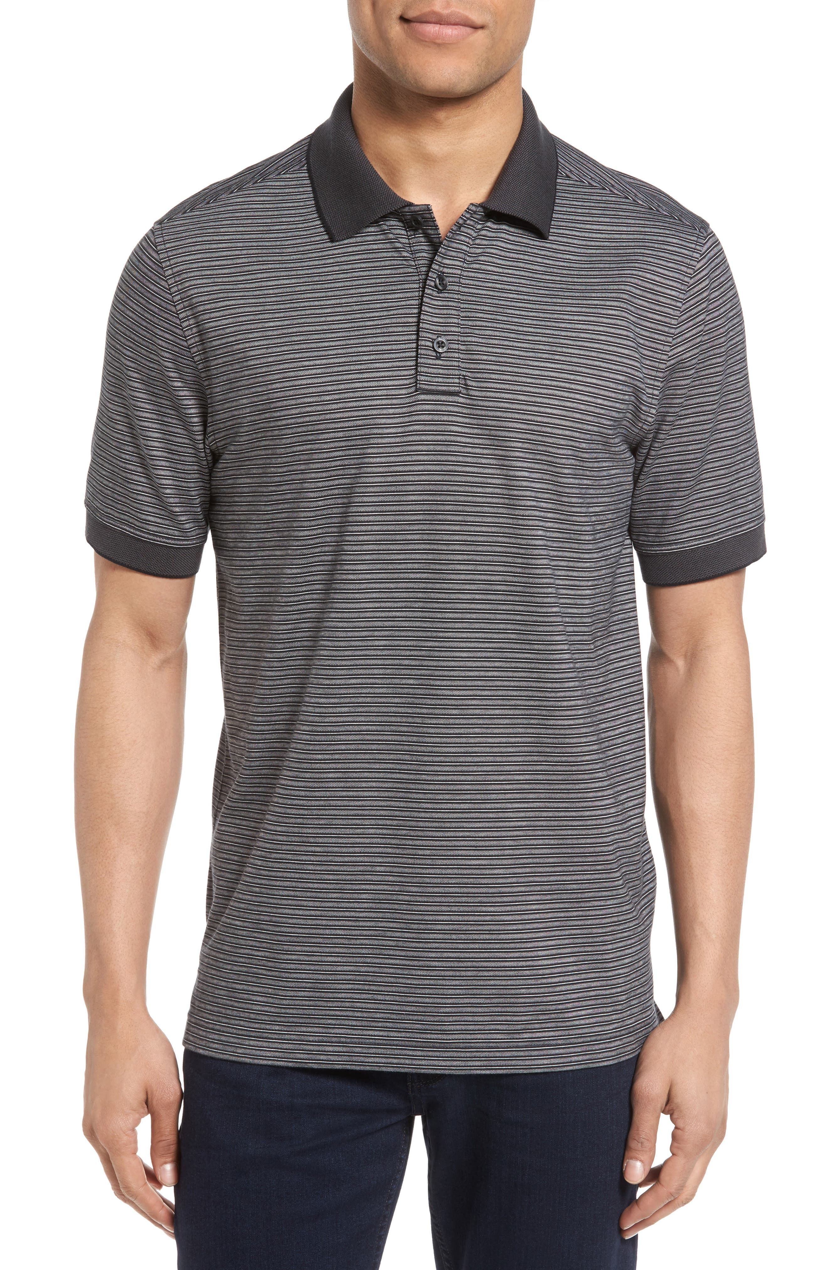 Regular Fit Performance Stripe Polo,                         Main,                         color, Grey Shade Multi Stripe