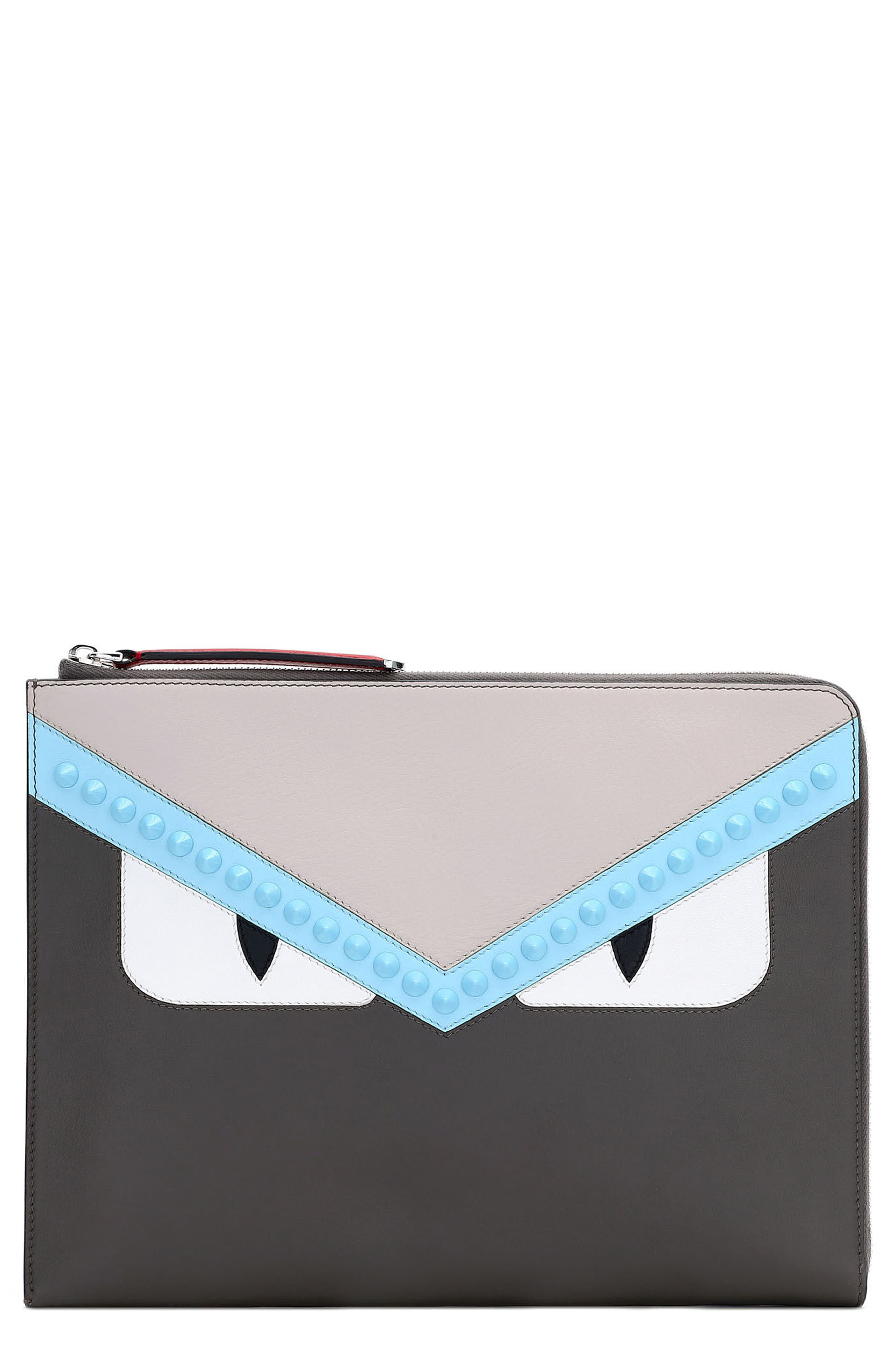 Fendi Large Monster Leather Zip Pouch
