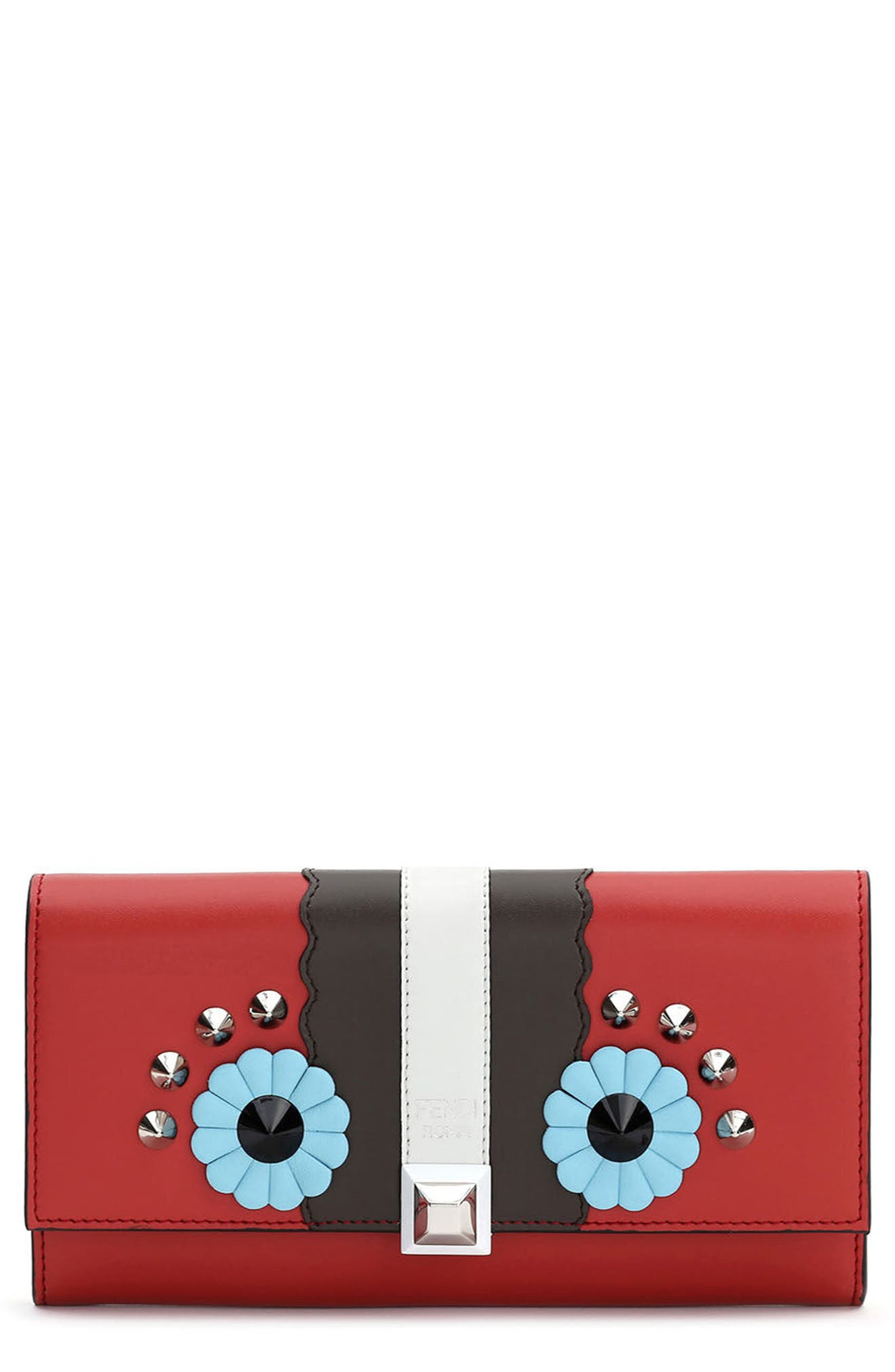 Fendi Faces Leather Continental Wallet