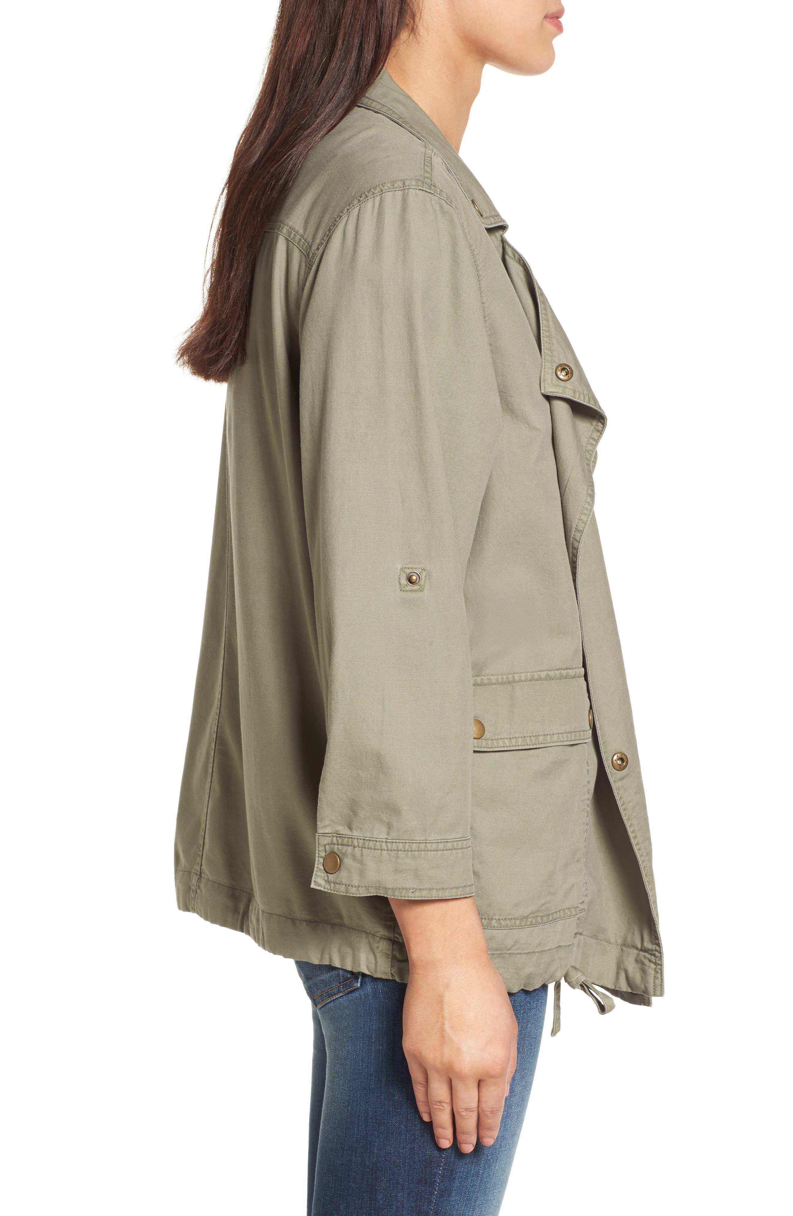 Alternate Image 5  - Caslon® Roll Sleeve Utility Jacket (Regular & Petite)
