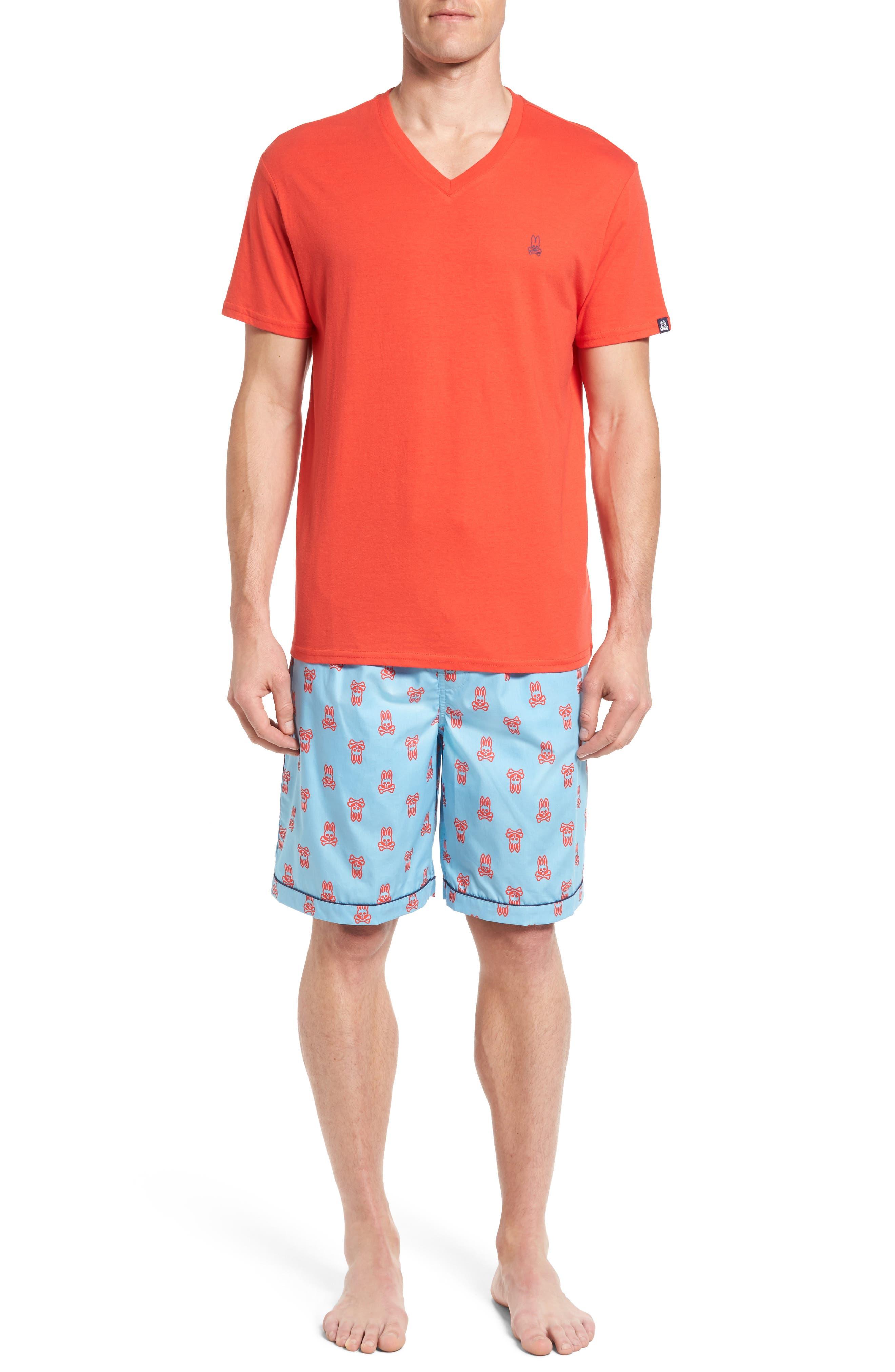 Pajama Set,                             Main thumbnail 1, color,                             Brilliant Red/ Whipple Bunny