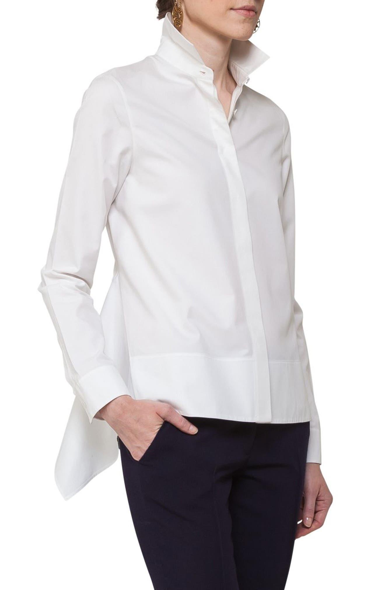Handkerchief Hem Cotton Blouse,                             Alternate thumbnail 3, color,                             Cream