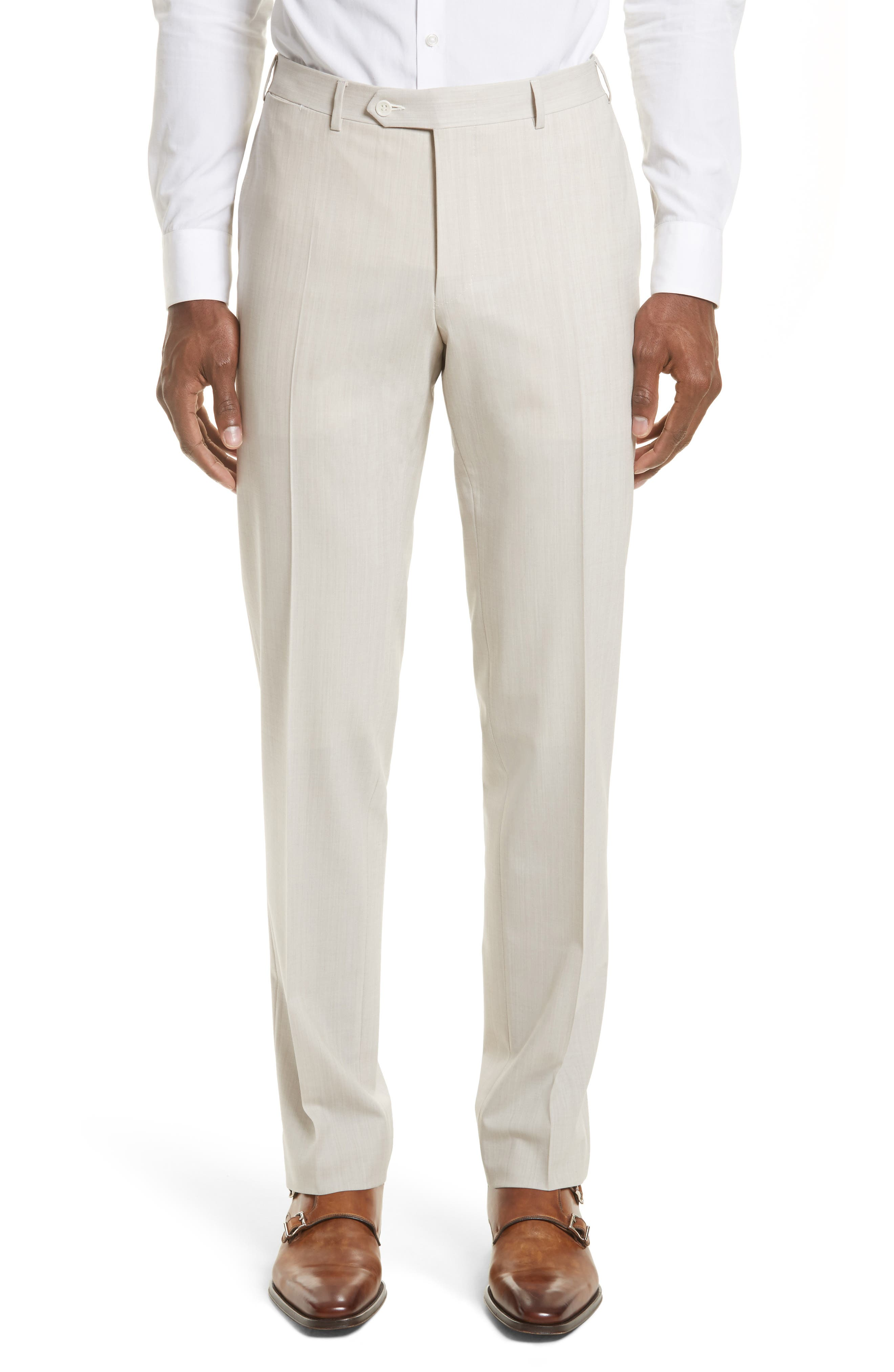 Canali Flat Front Solid Stretch Wool Trousers