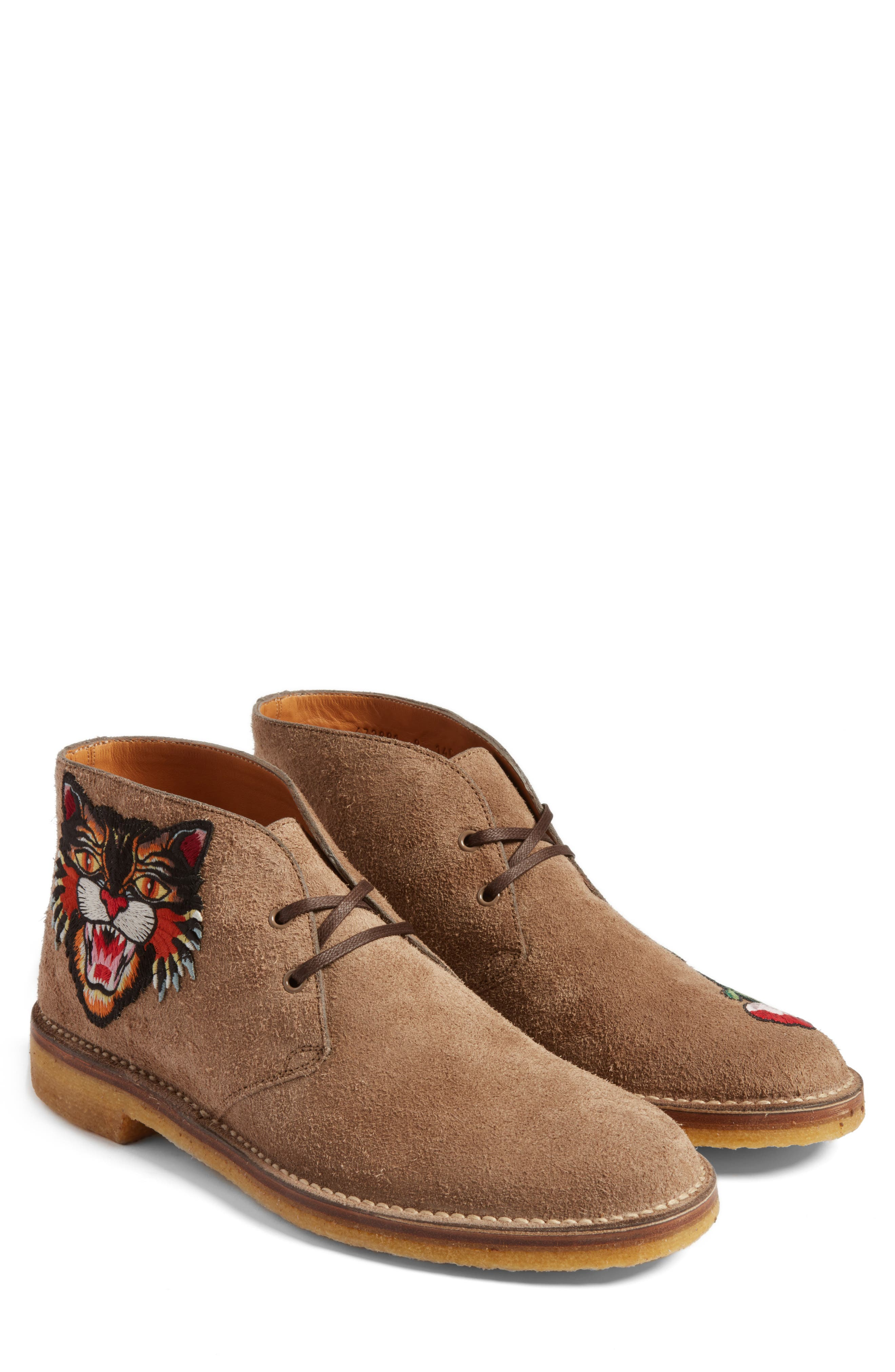 Gucci New Moreau Embroidered Chukka Boot (Men)