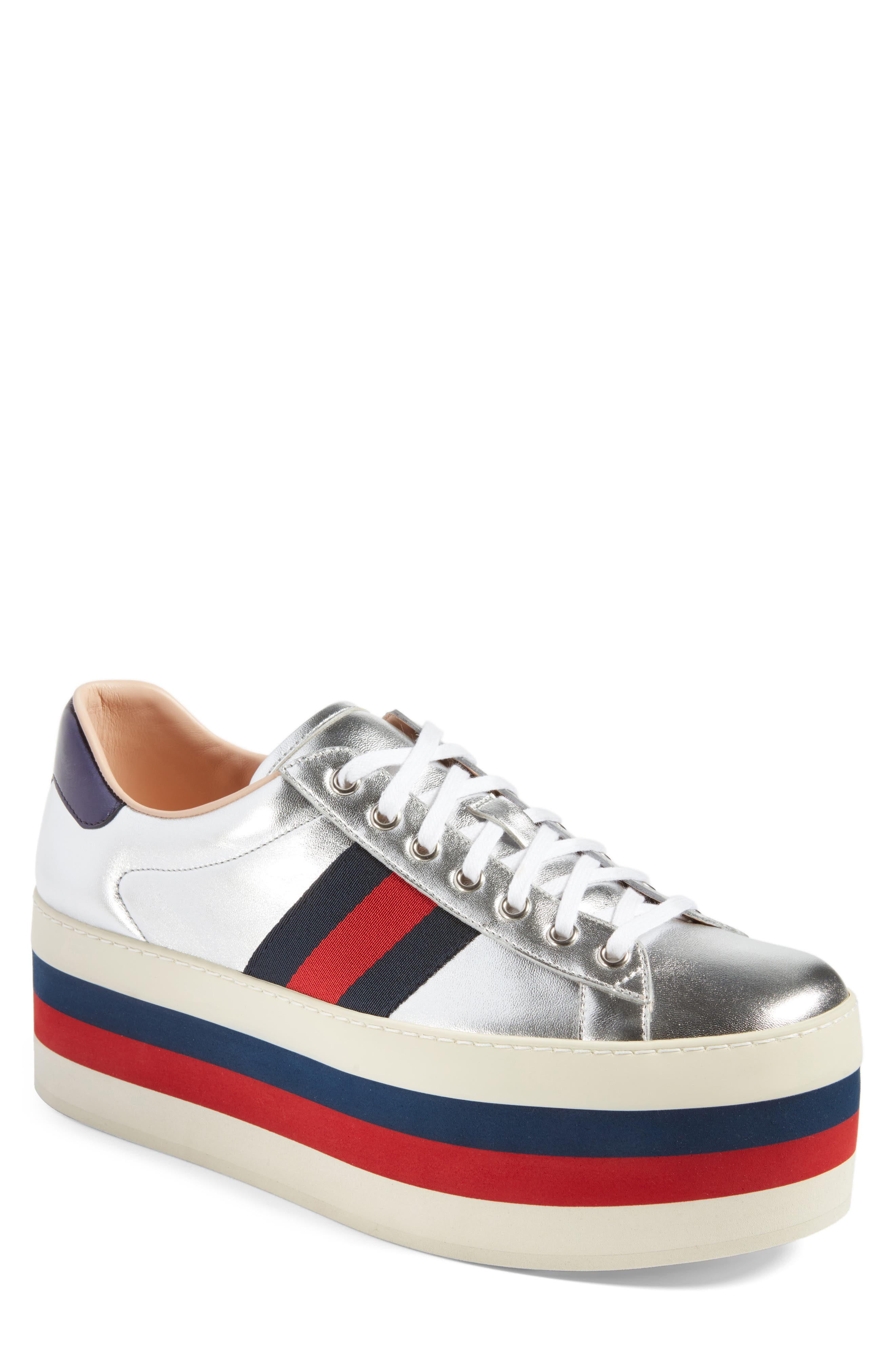 New Ace Platform Sneaker,                             Main thumbnail 1, color,                             Silver Multi