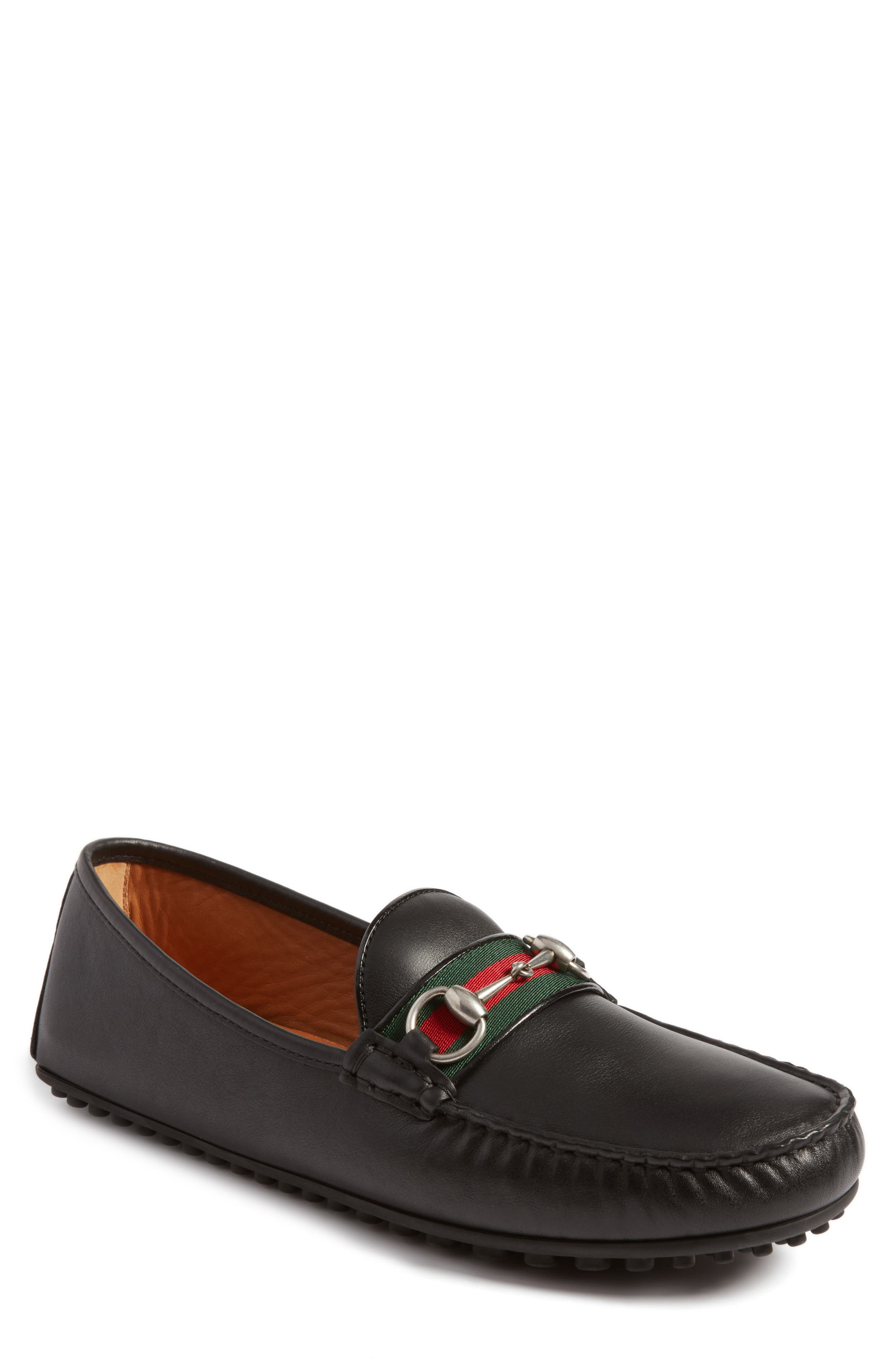 Web Horsebit Driving Loafers in Black