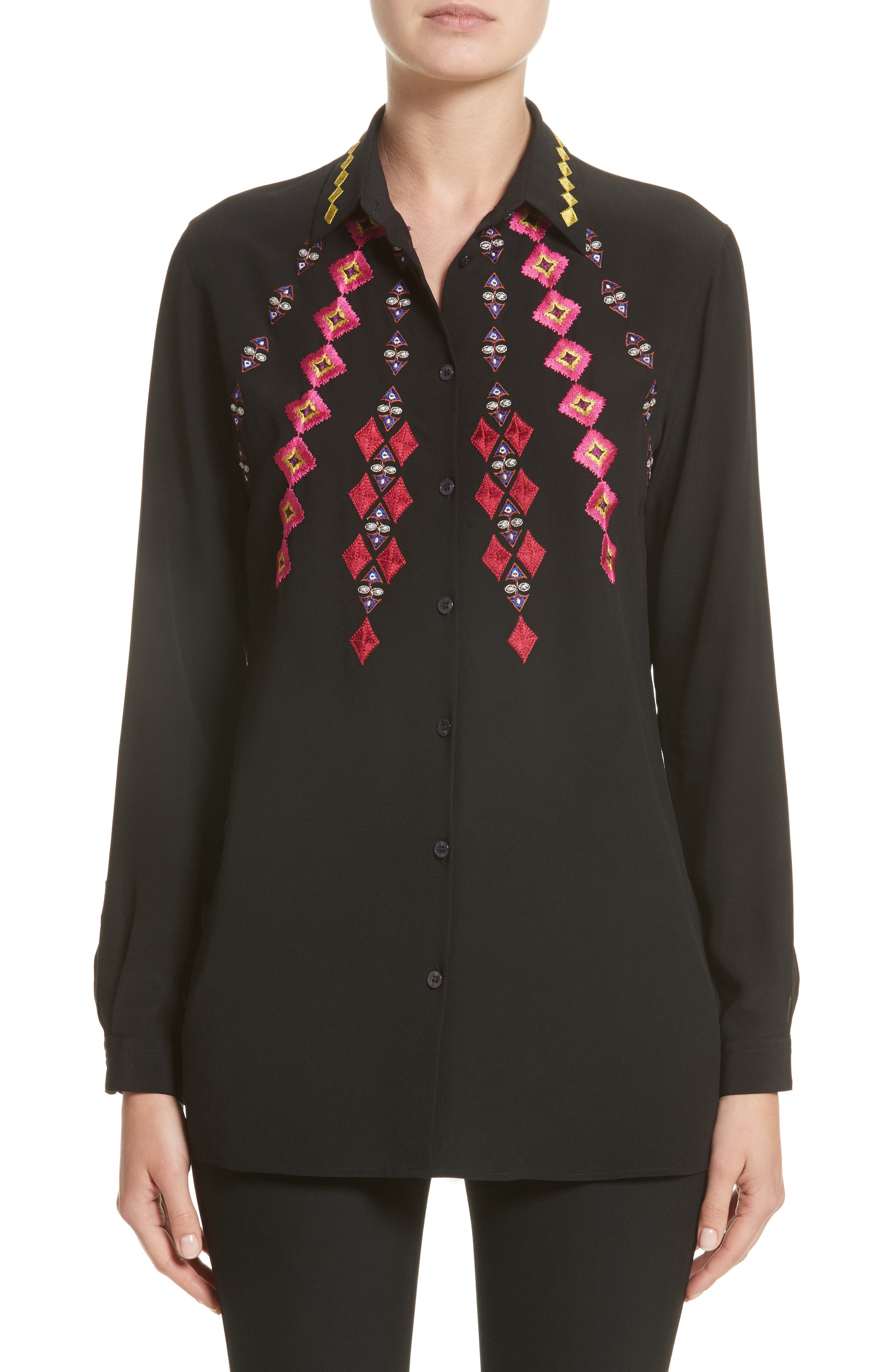 Diamond Embroidered Silk Blouse,                         Main,                         color, Black