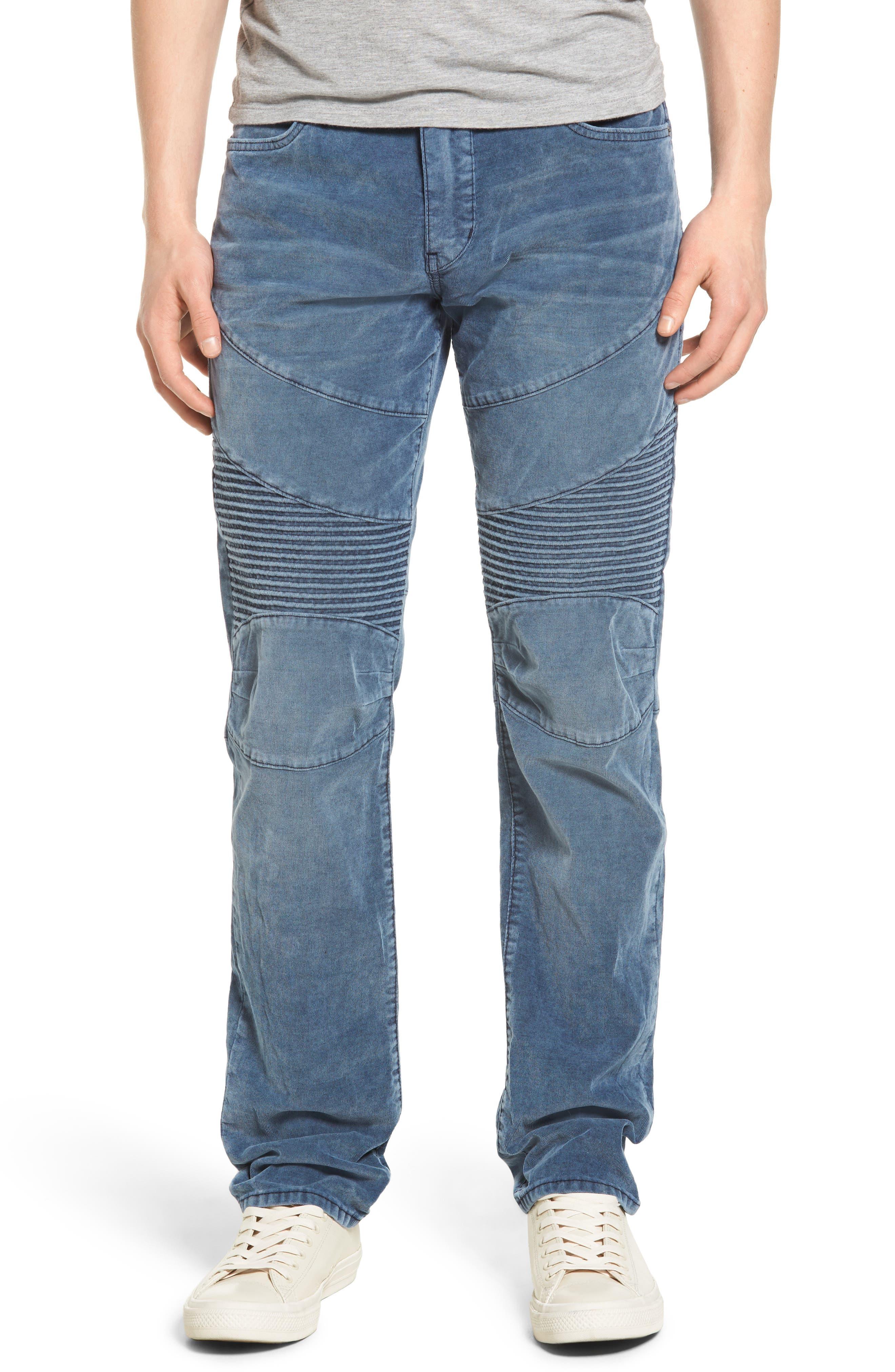Geno Straight Leg Corduroy Moto Pants,                         Main,                         color, Azur Reef