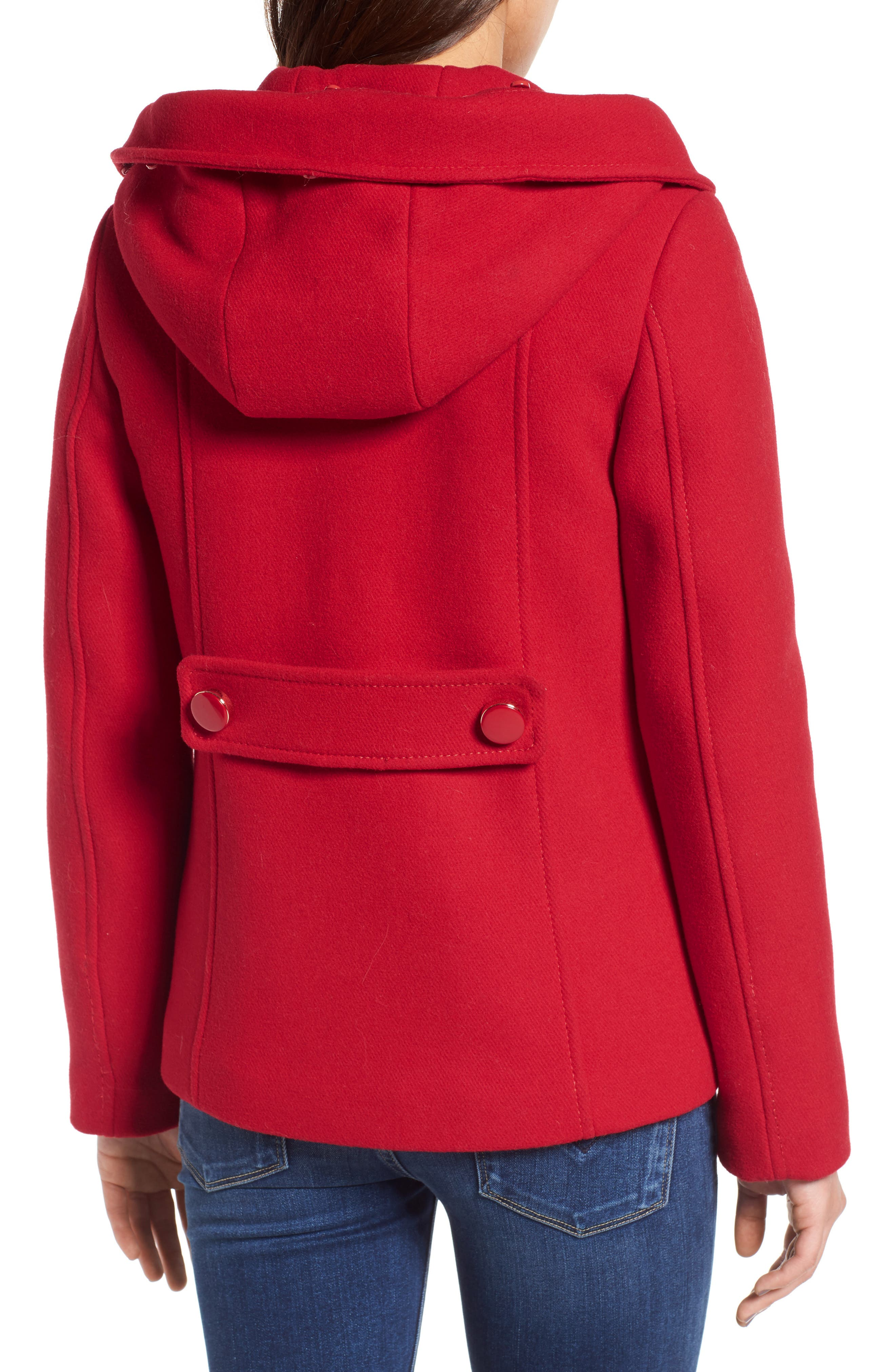 faux fur trim hooded peacoat,                             Alternate thumbnail 2, color,                             Posy Red