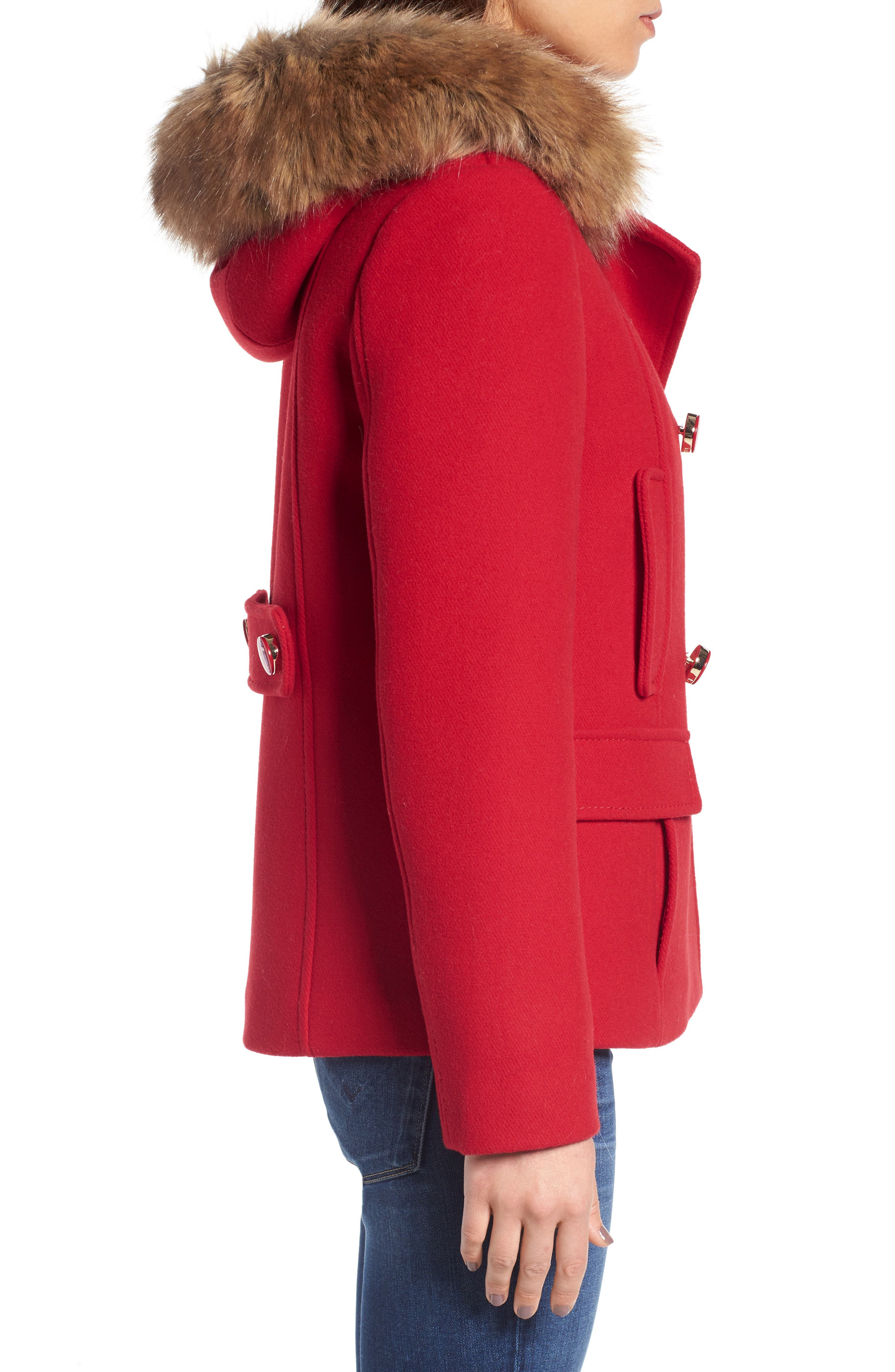 faux fur trim hooded peacoat,                             Alternate thumbnail 3, color,                             Posy Red