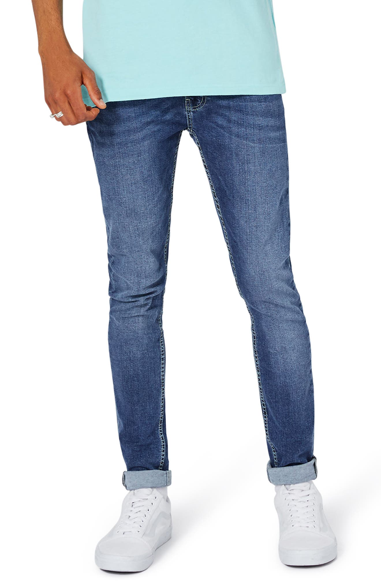 Spray-On Skinny Fit Jeans,                             Main thumbnail 1, color,                             Blue