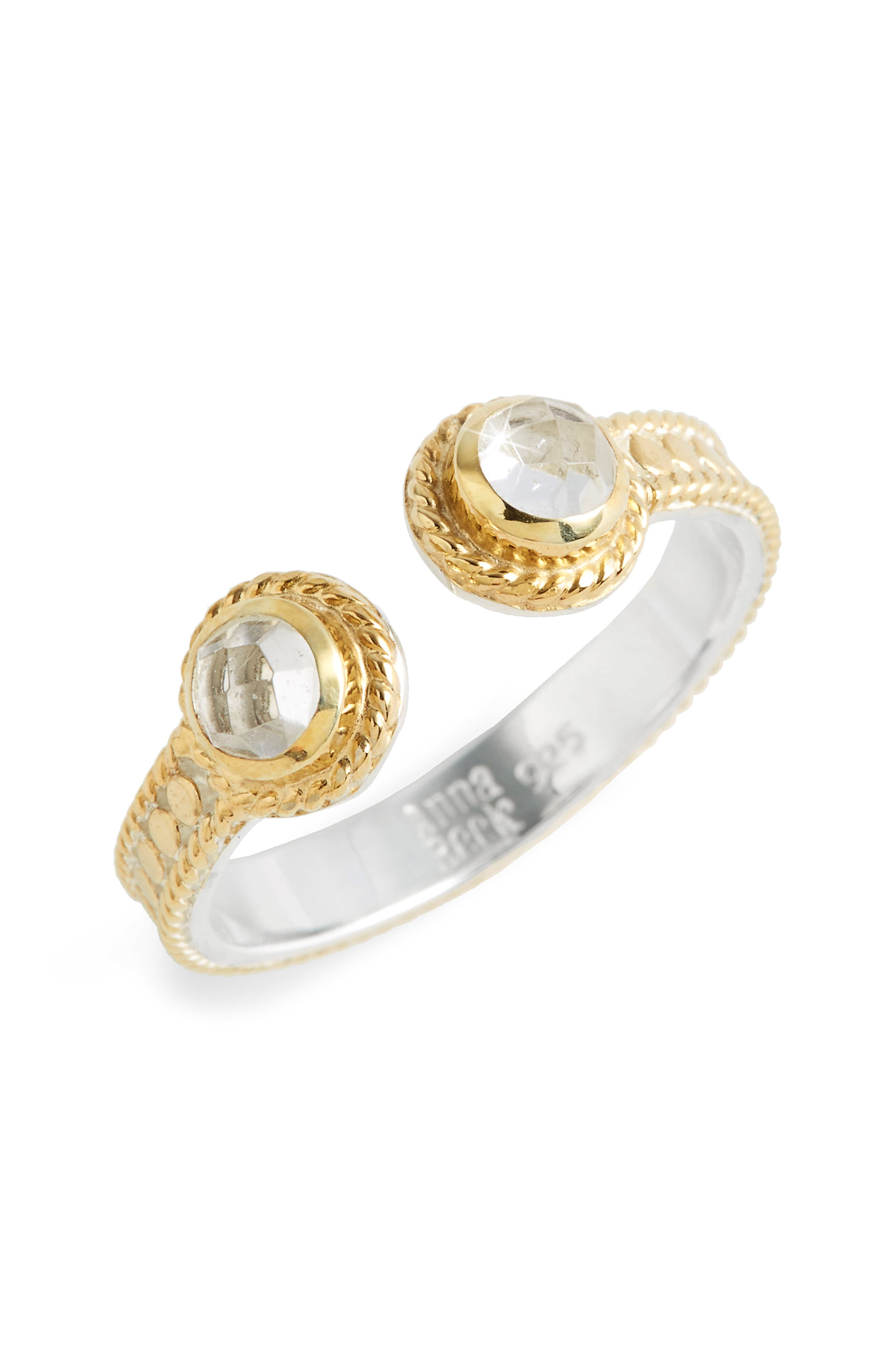 Crystal Quartz Open Stack Ring,                         Main,                         color, Gold/ Silver