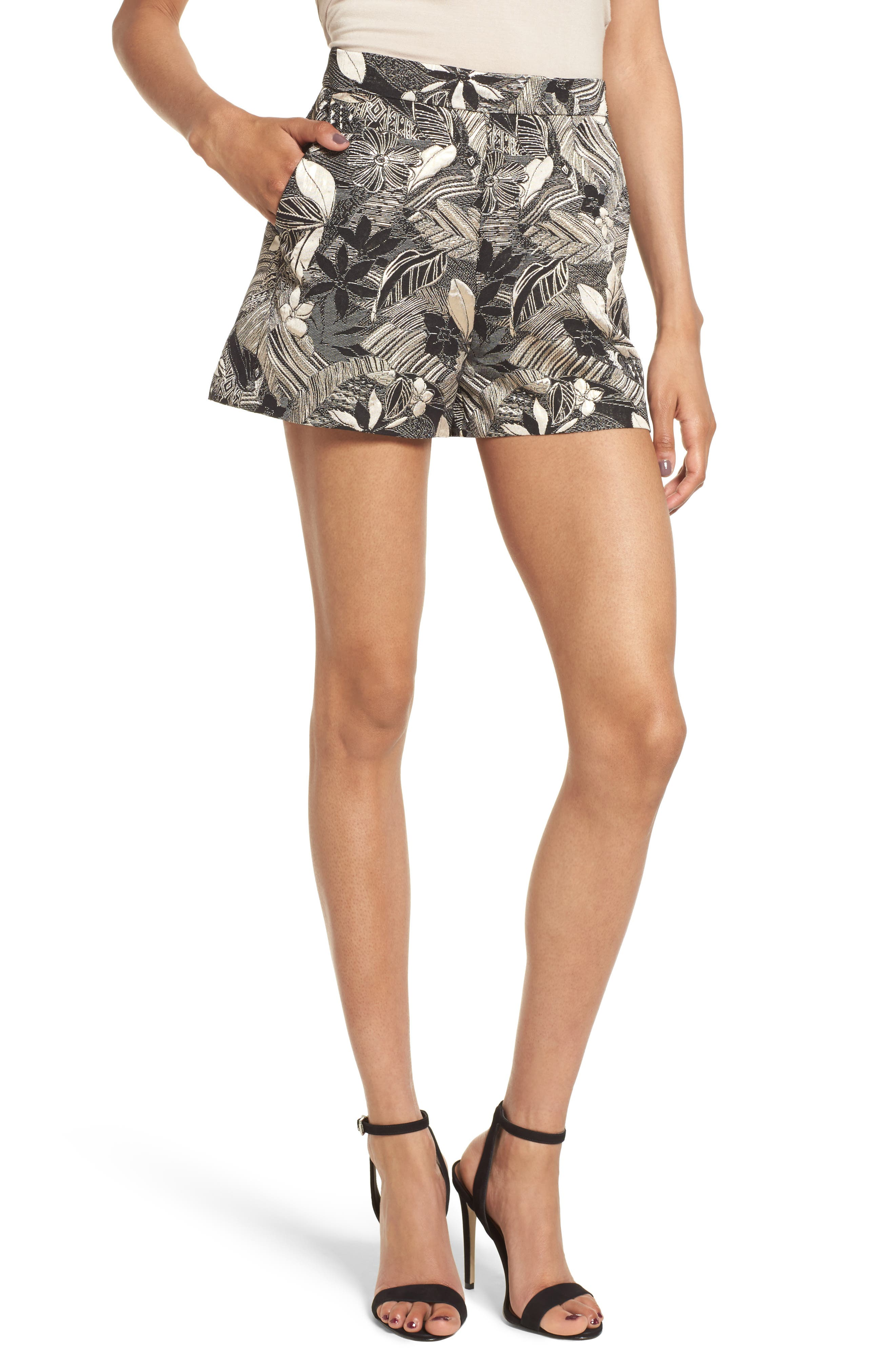 High Waist Jacquard Shorts,                             Main thumbnail 1, color,                             Black Mixed Floral
