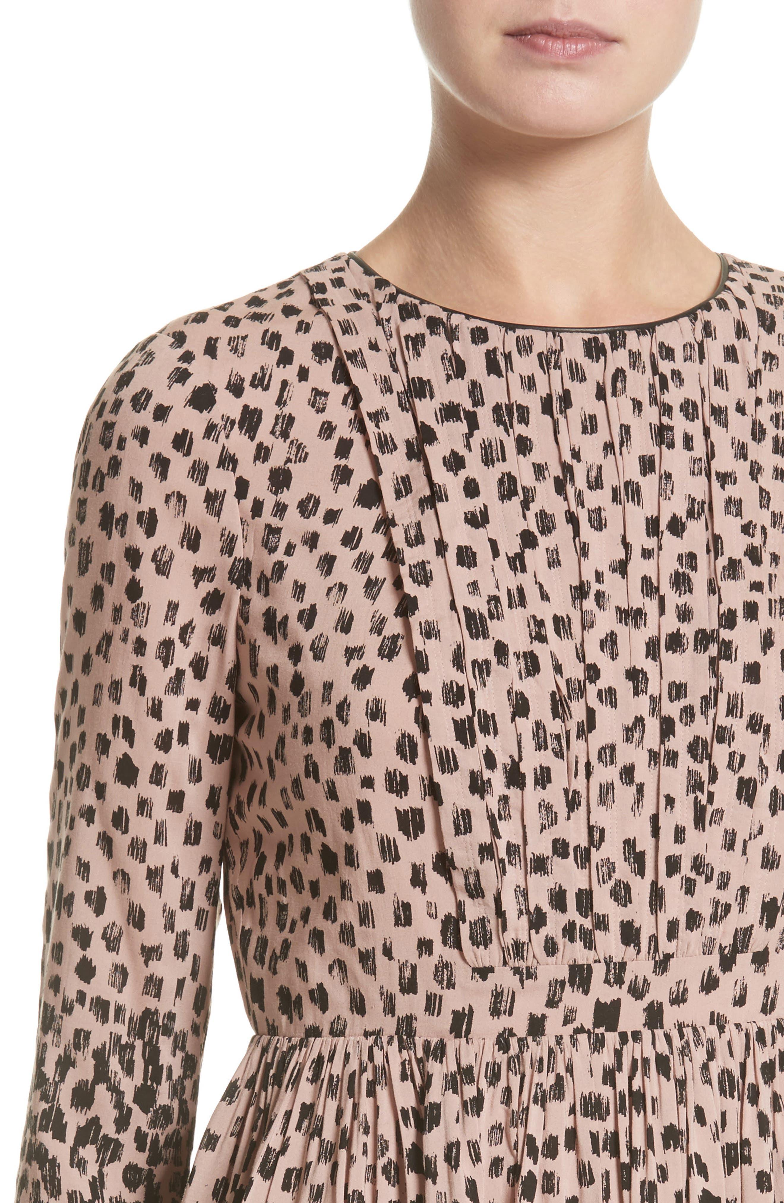 Karinkalt Leather Trim Print Dress,                             Alternate thumbnail 6, color,                             Pale Pink