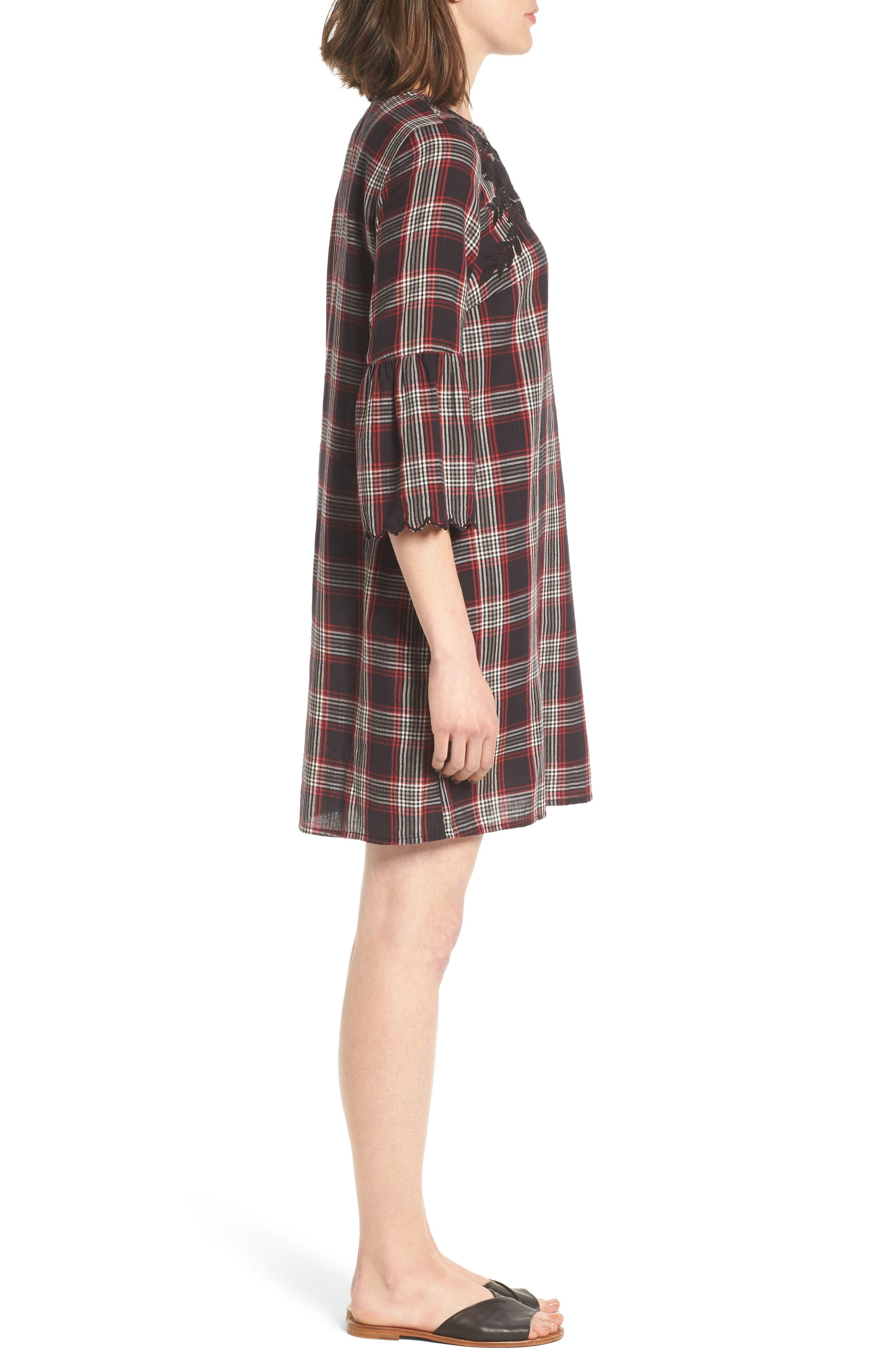 Alternate Image 3  - Caslon® Bell Sleeve Plaid Shift Dress