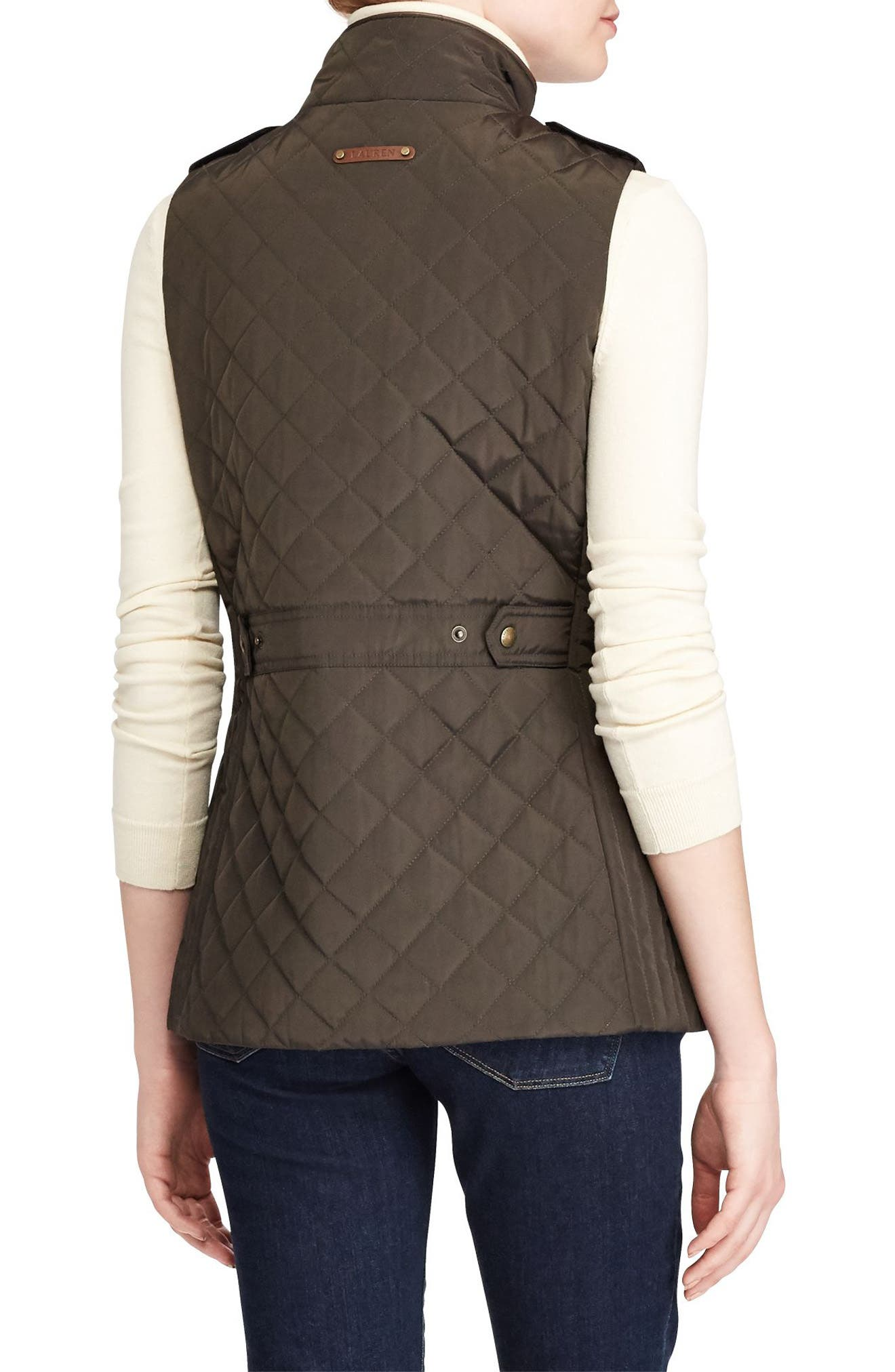 Alternate Image 3  - Lauren Ralph Lauren Faux Leather Trim Quilted Vest (Regular & Petite)