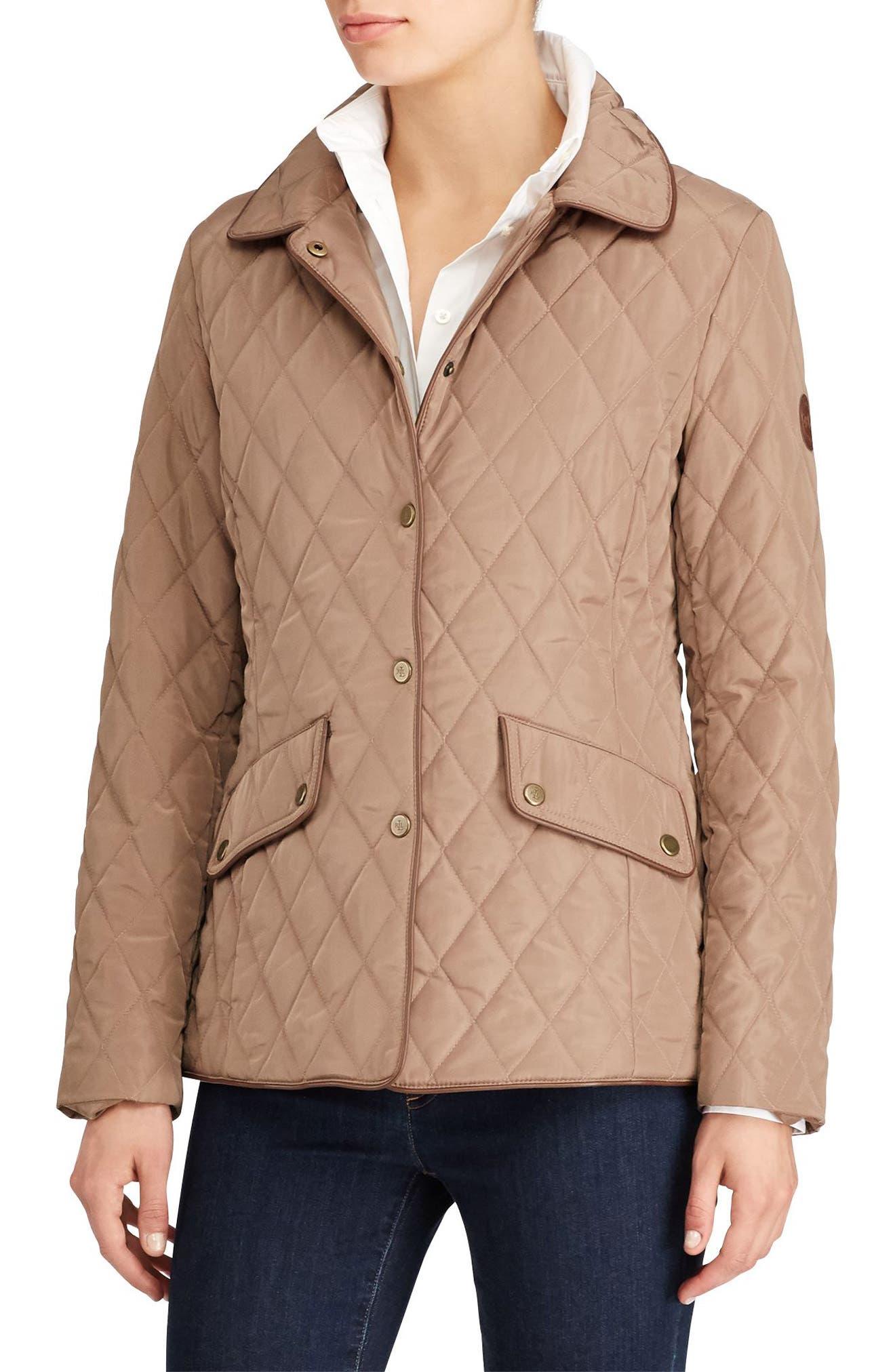 Faux Leather Trim Quilted Jacket,                             Main thumbnail 1, color,                             Bridle