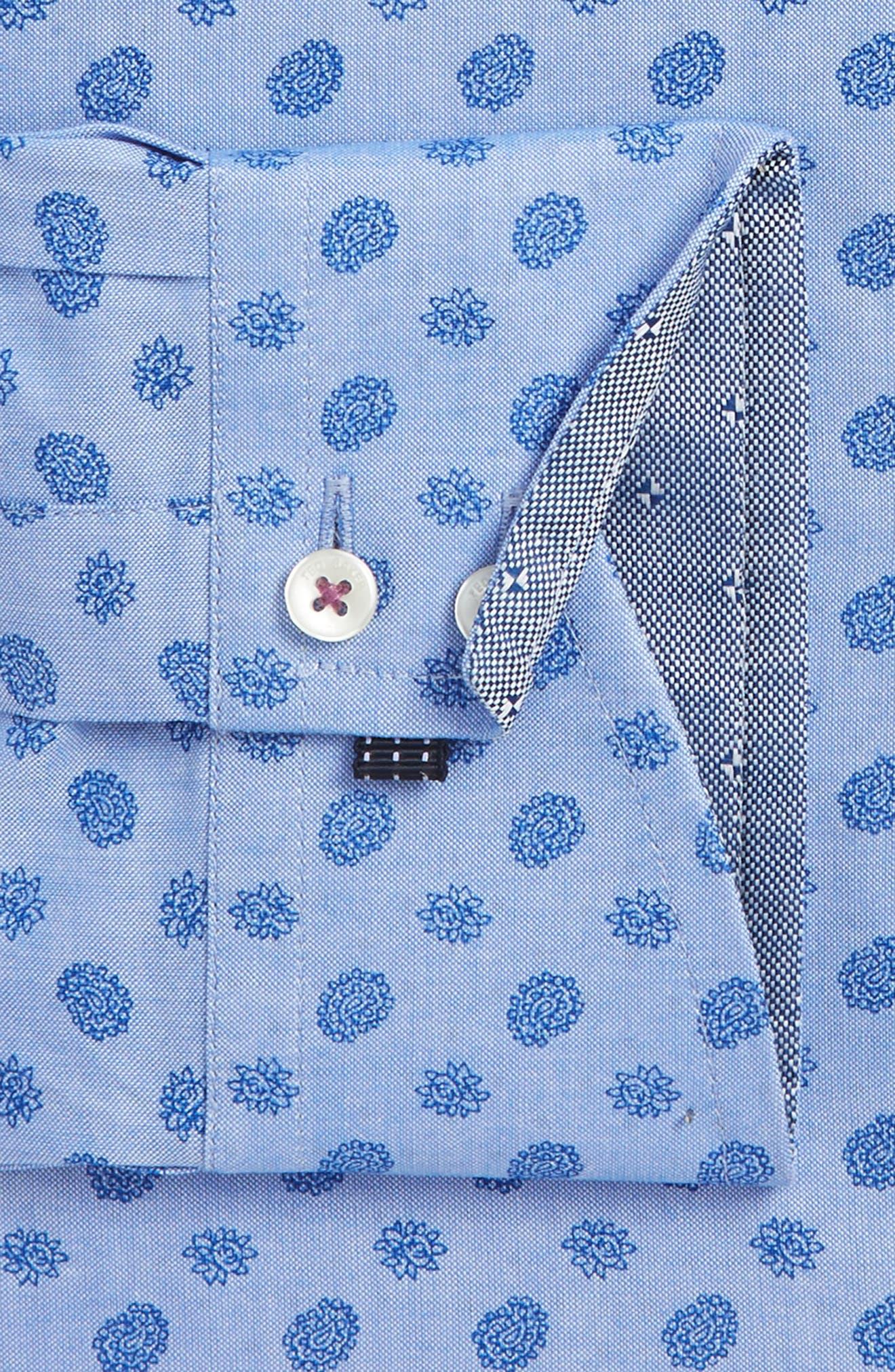Midra Trim Fit Paisley Dress Shirt,                             Alternate thumbnail 4, color,                             Blue