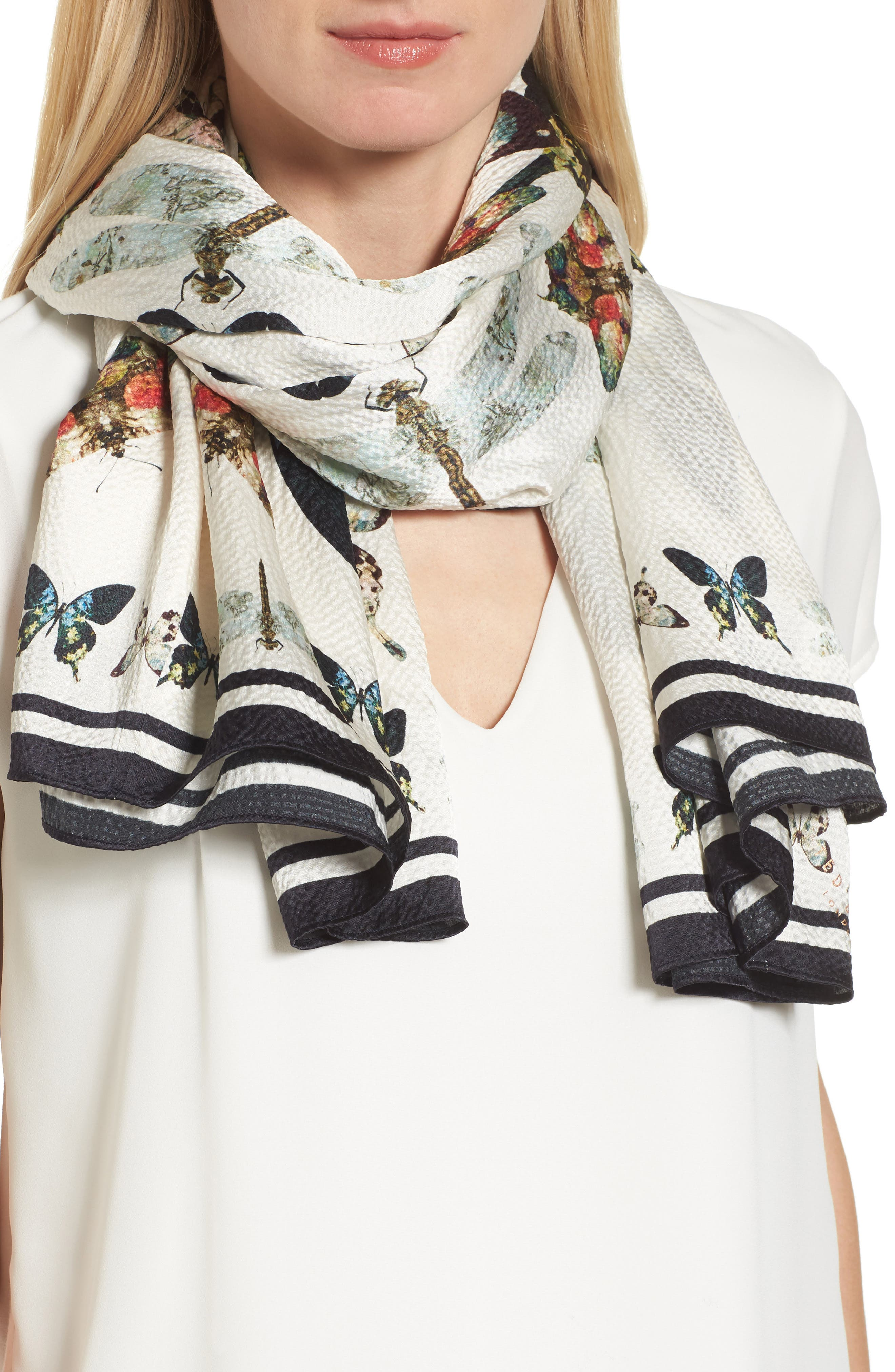 Butterfly Kaleidoscope Silk Cape Scarf,                             Alternate thumbnail 4, color,                             White