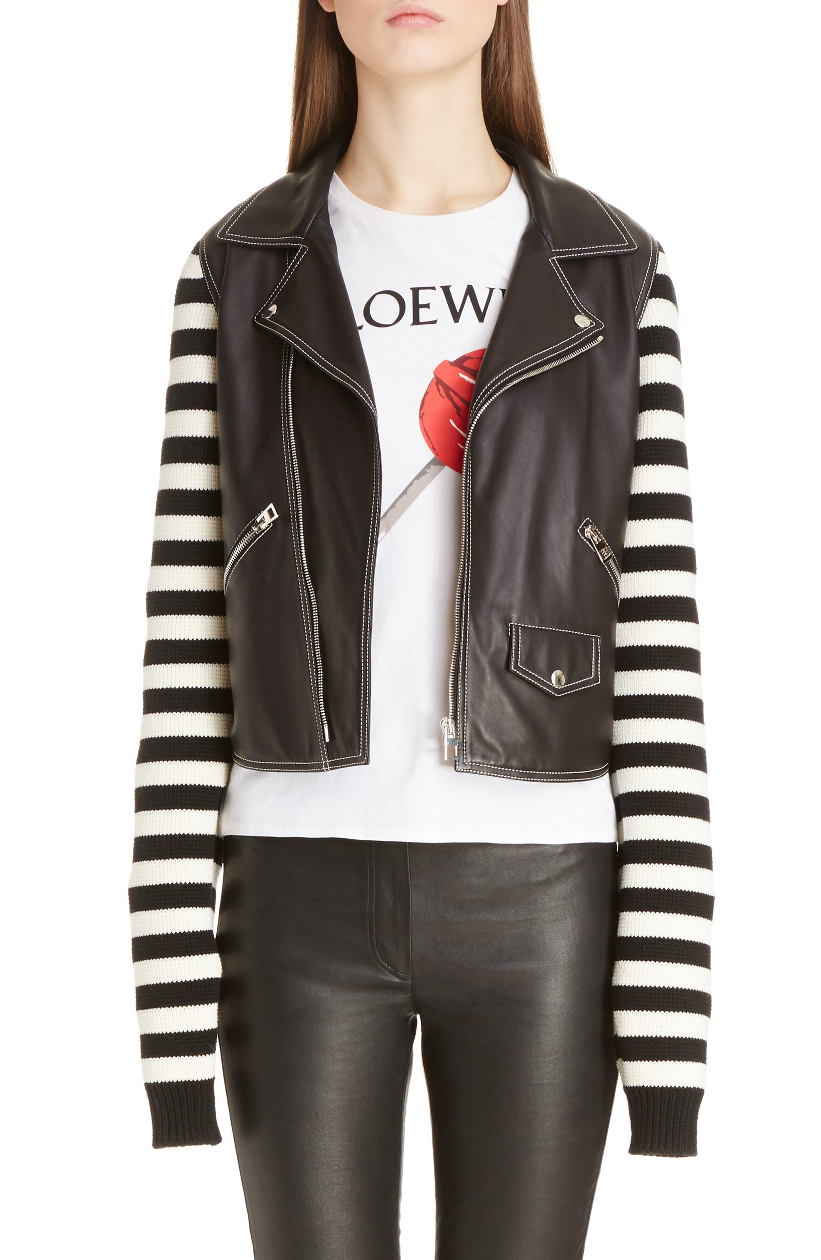 Alternate Image 1 Selected - Loewe Stripe Knit & Leather Biker Jacket