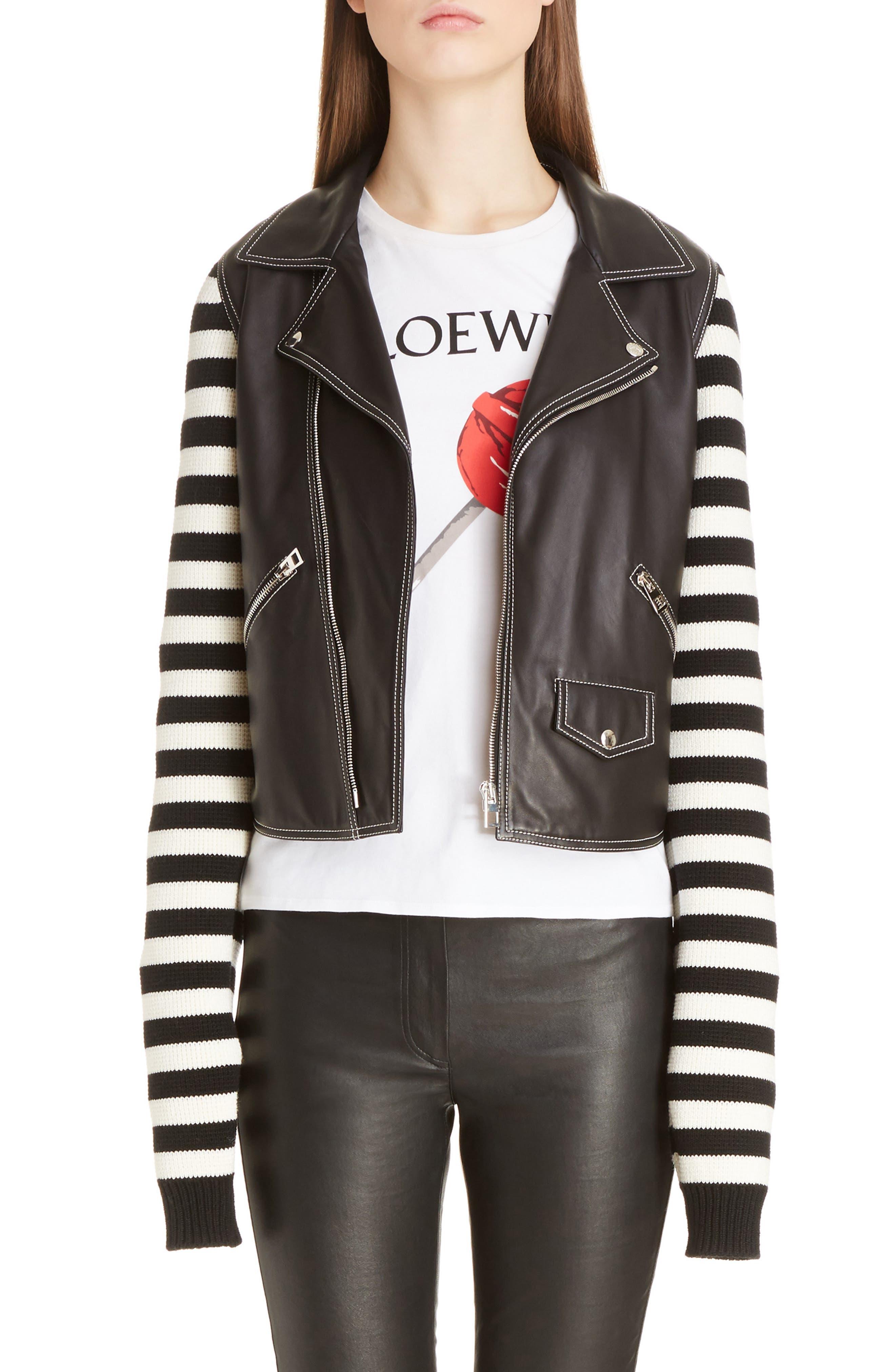 Loewe Stripe Knit & Leather Biker Jacket