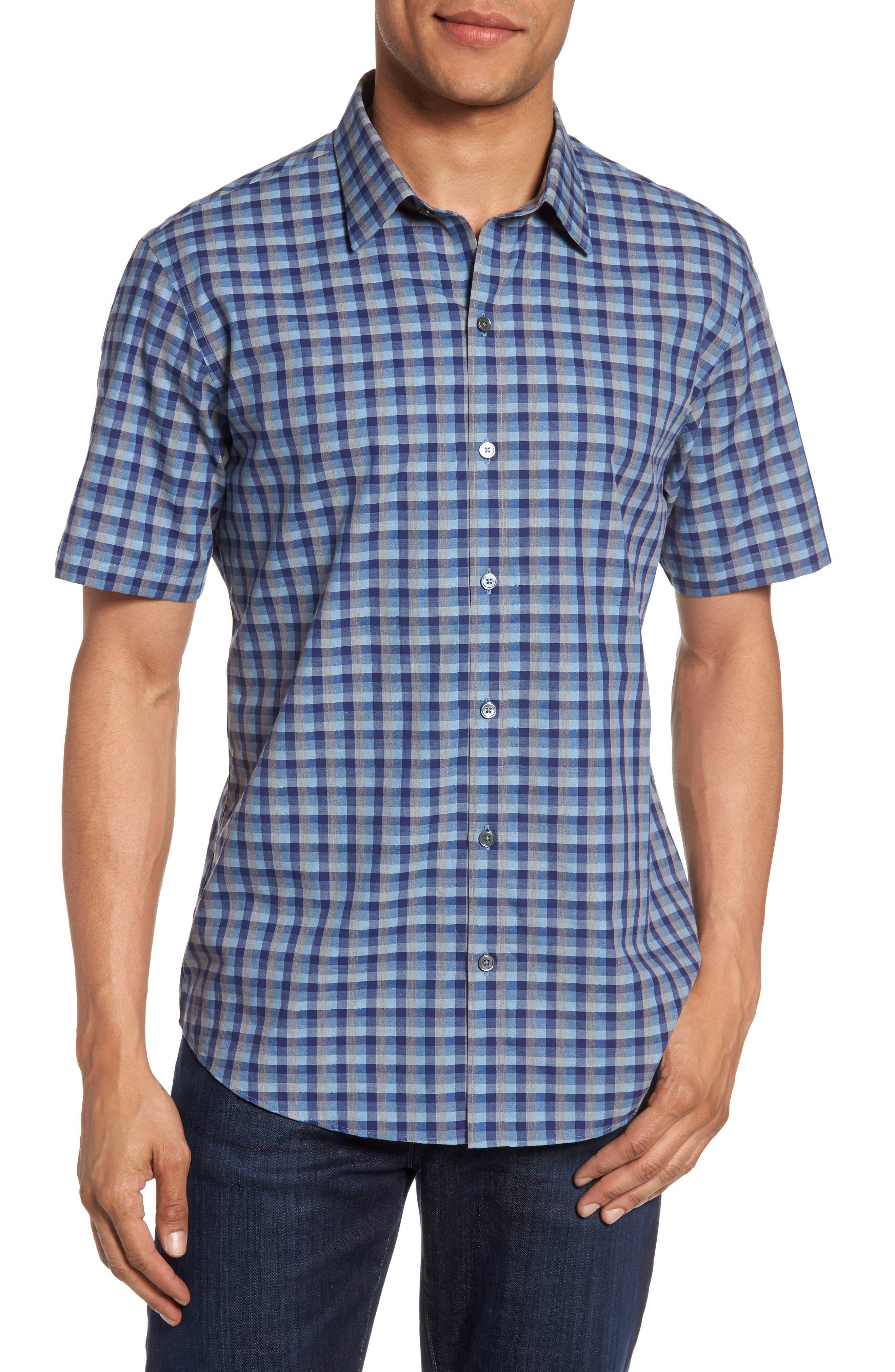 Check Short Sleeve Sport Shirt,                         Main,                         color, Blue