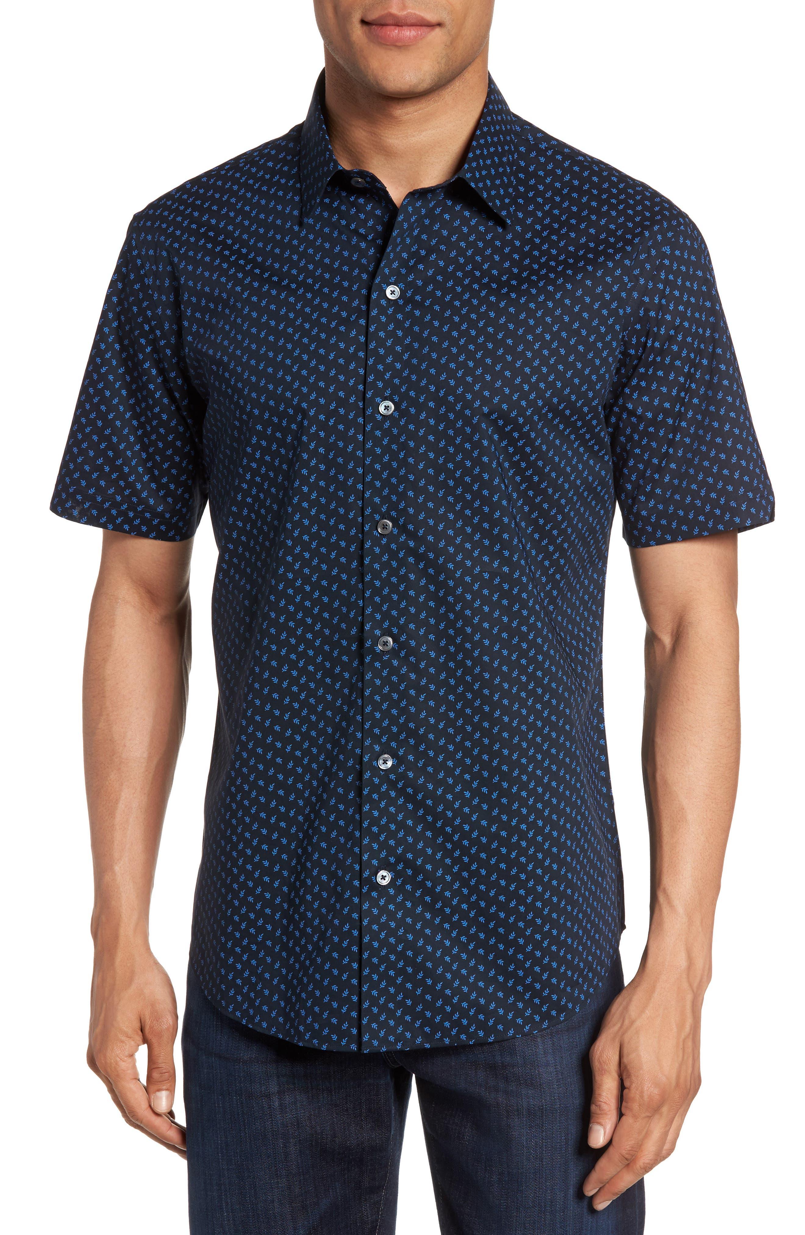 Print Short Sleeve Sport Shirt,                         Main,                         color, Navy