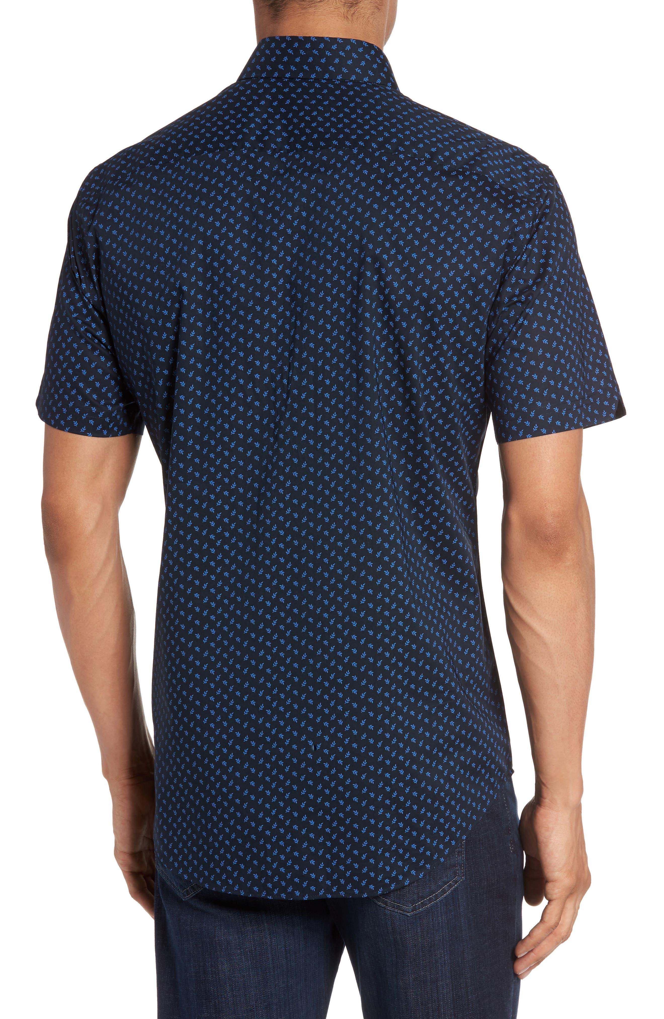 Print Short Sleeve Sport Shirt,                             Alternate thumbnail 2, color,                             Navy