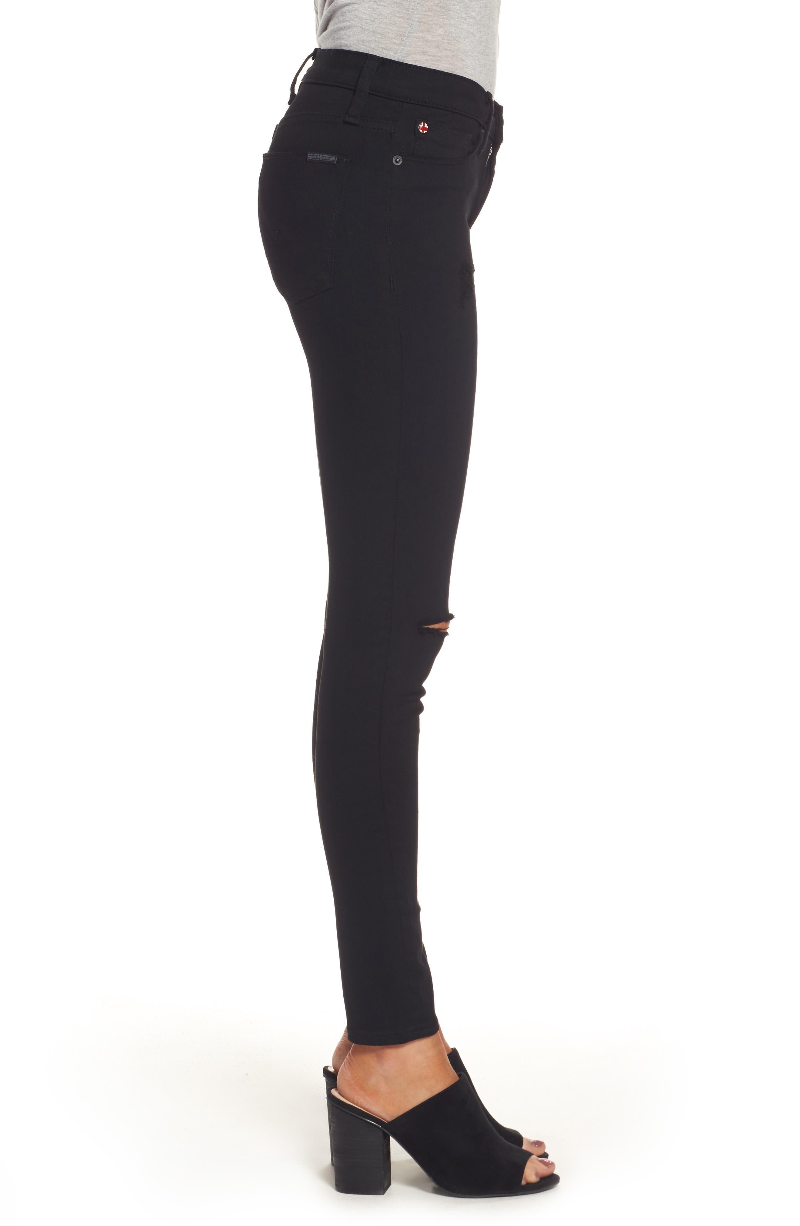 Alternate Image 3  - Hudson Jeans 'Elysian - Nico' Super Skinny Jeans (Destructed Black) (Nordstrom Exclusive)