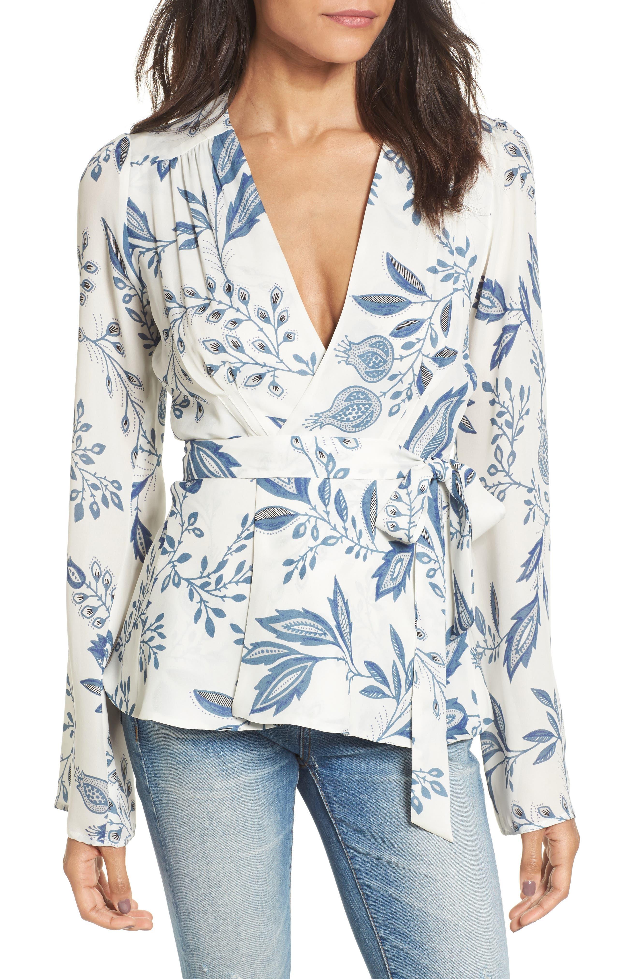Dover Silk Wrap Blouse,                         Main,                         color, Indigo Floral Silk