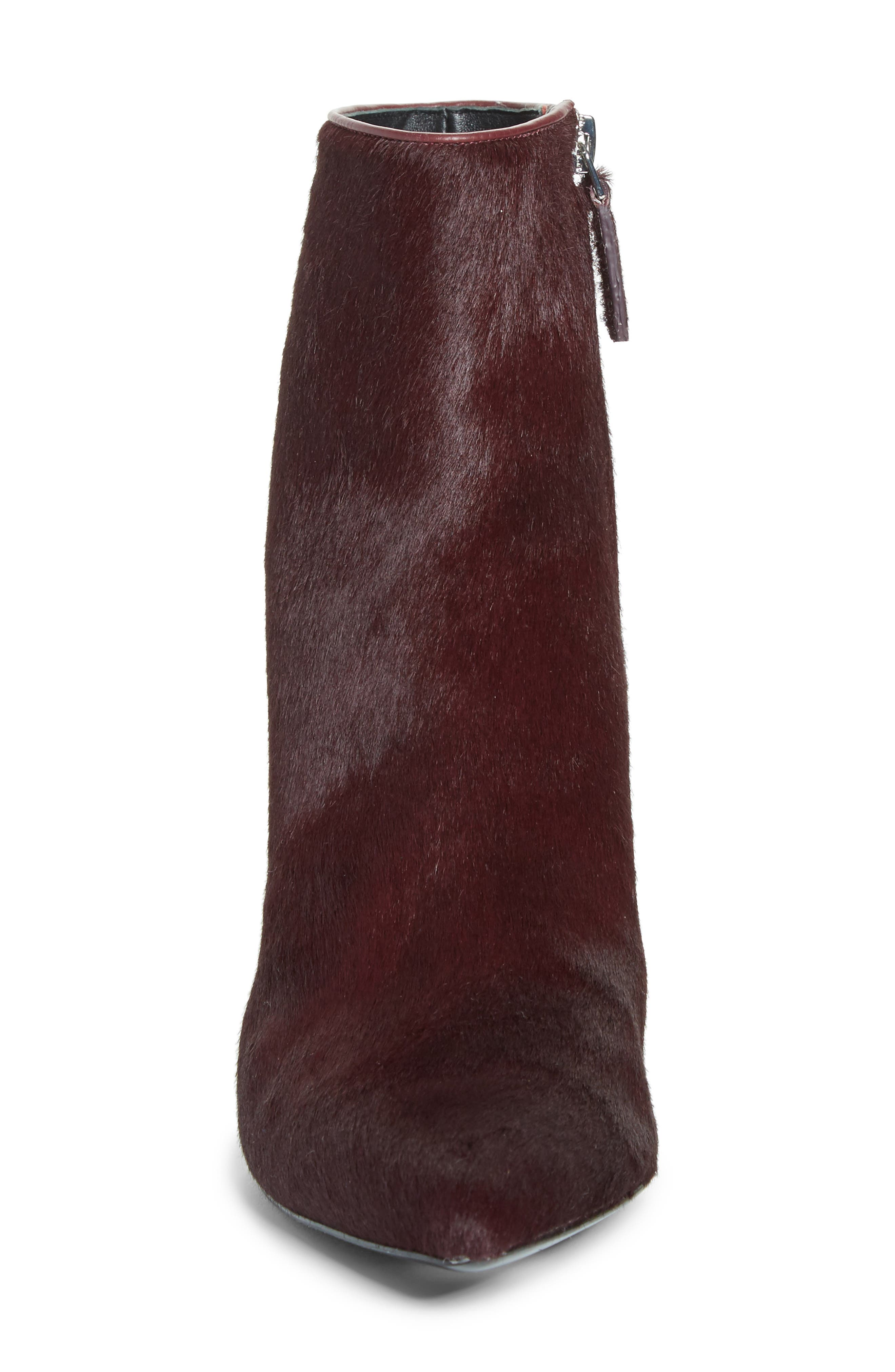 Jude Genuine Calf Hair Bootie,                             Alternate thumbnail 4, color,                             Burgundy Leather