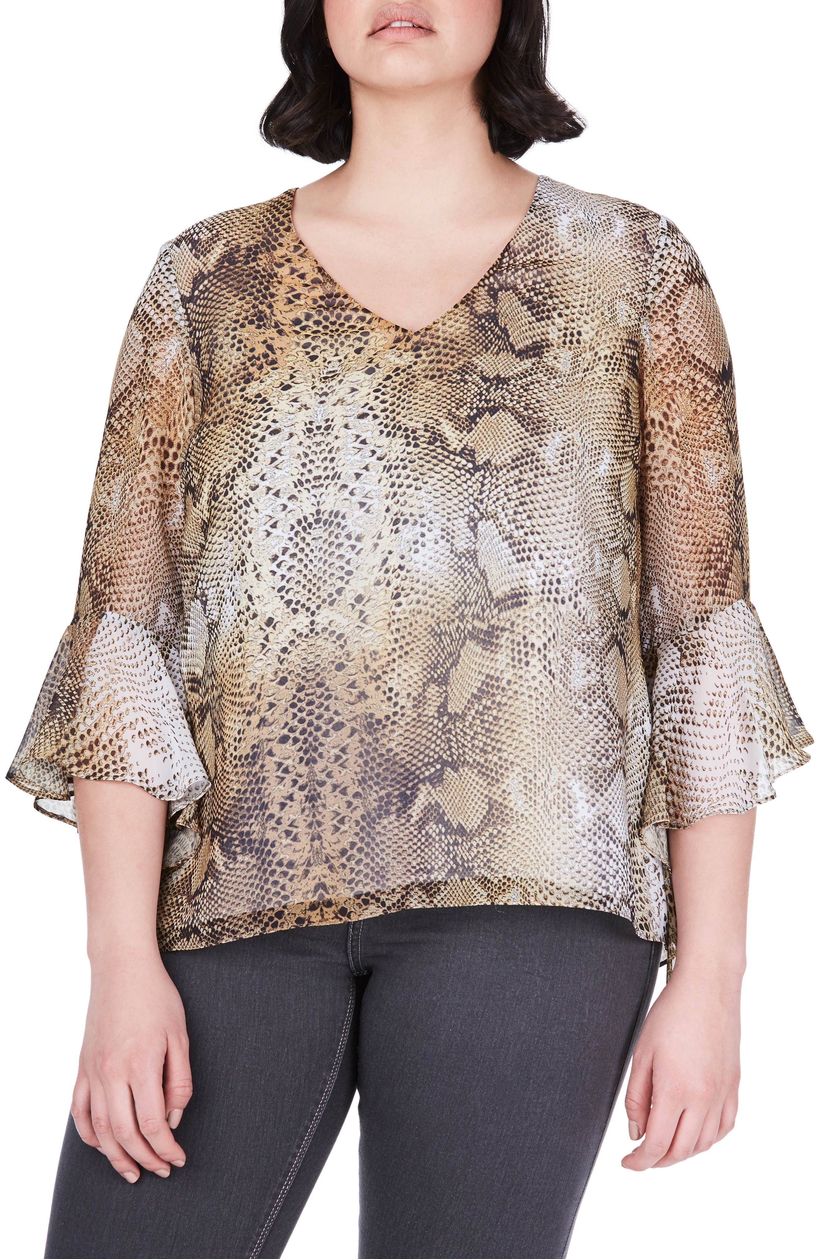 Bell Sleeve Snakeskin Print Top,                         Main,                         color, Yellow