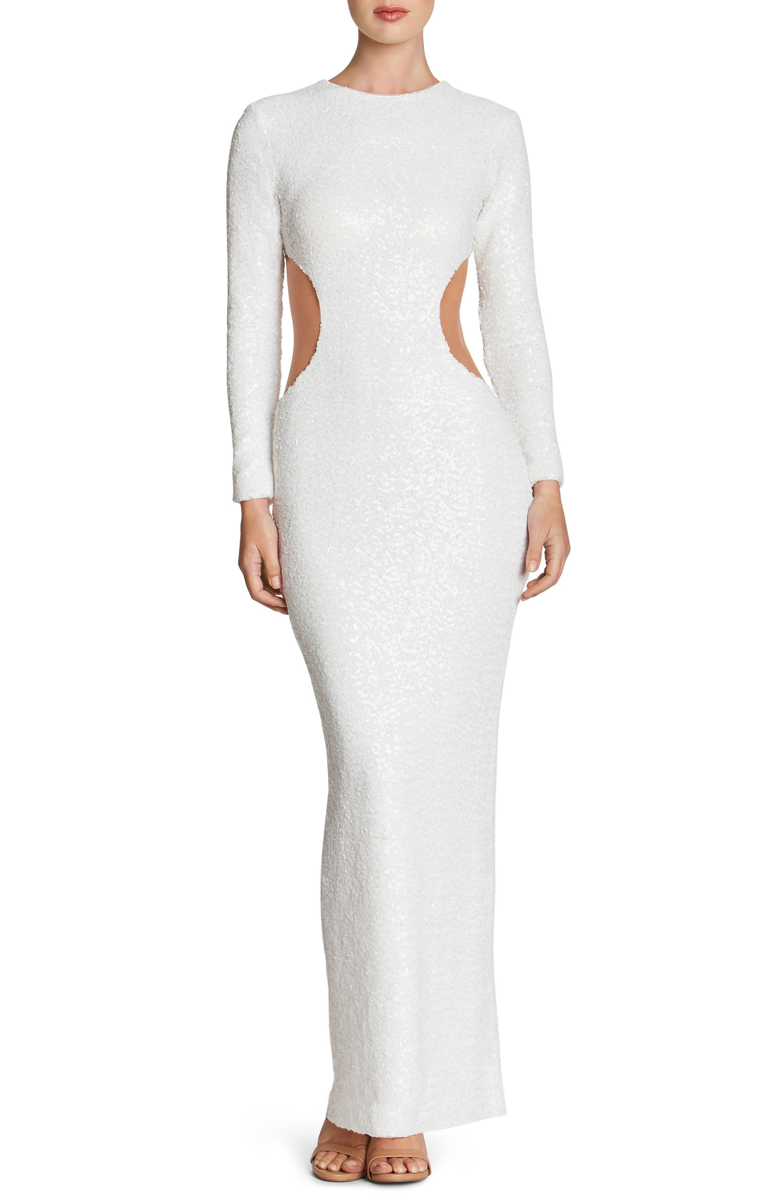 Lara Body-Con Gown,                         Main,                         color, White