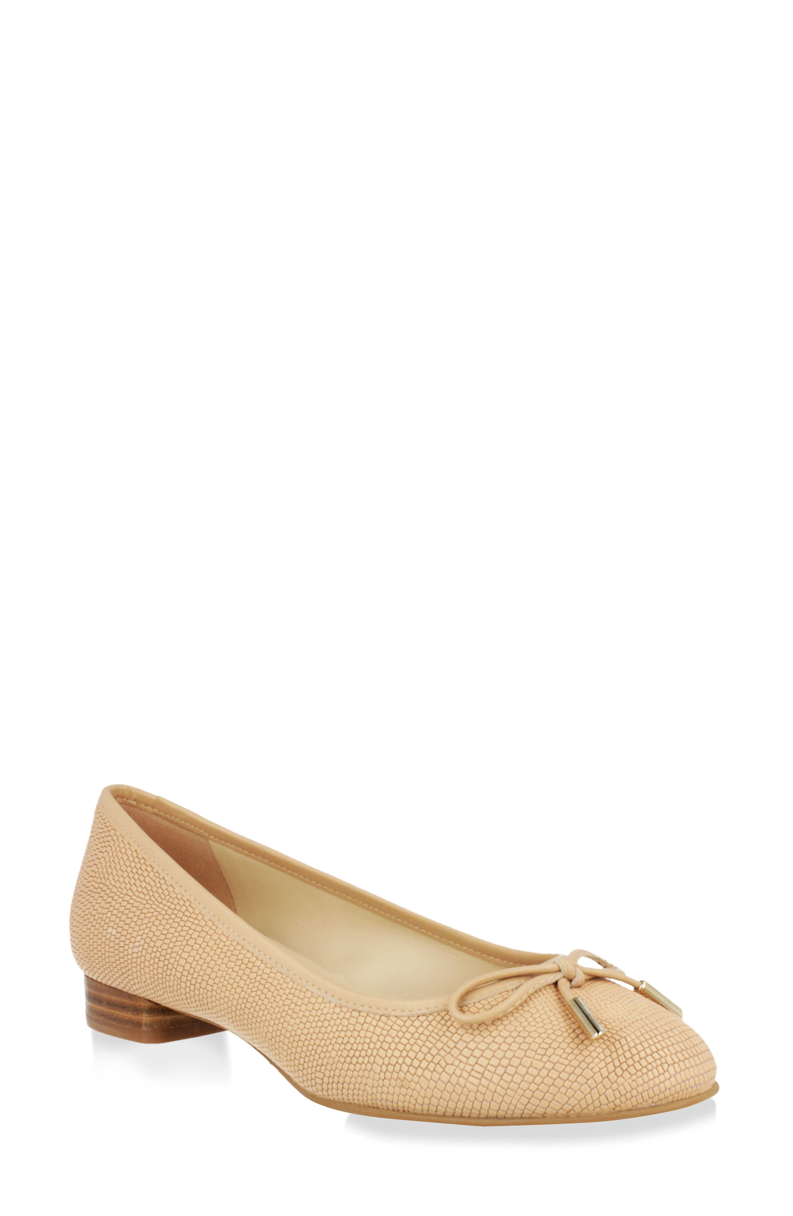 Lara Ballet Flat,                         Main,                         color, Natural Leather