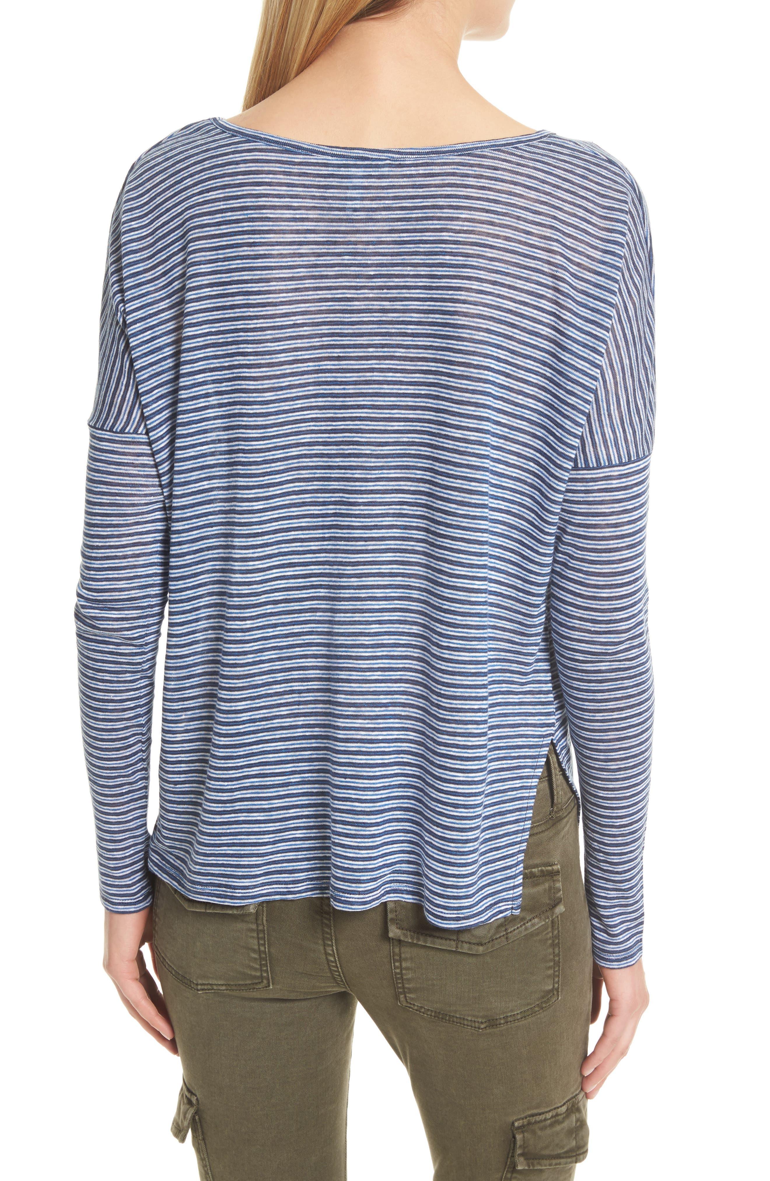 Faya Stripe Linen Sweater,                             Alternate thumbnail 2, color,                             Moroccan Blue